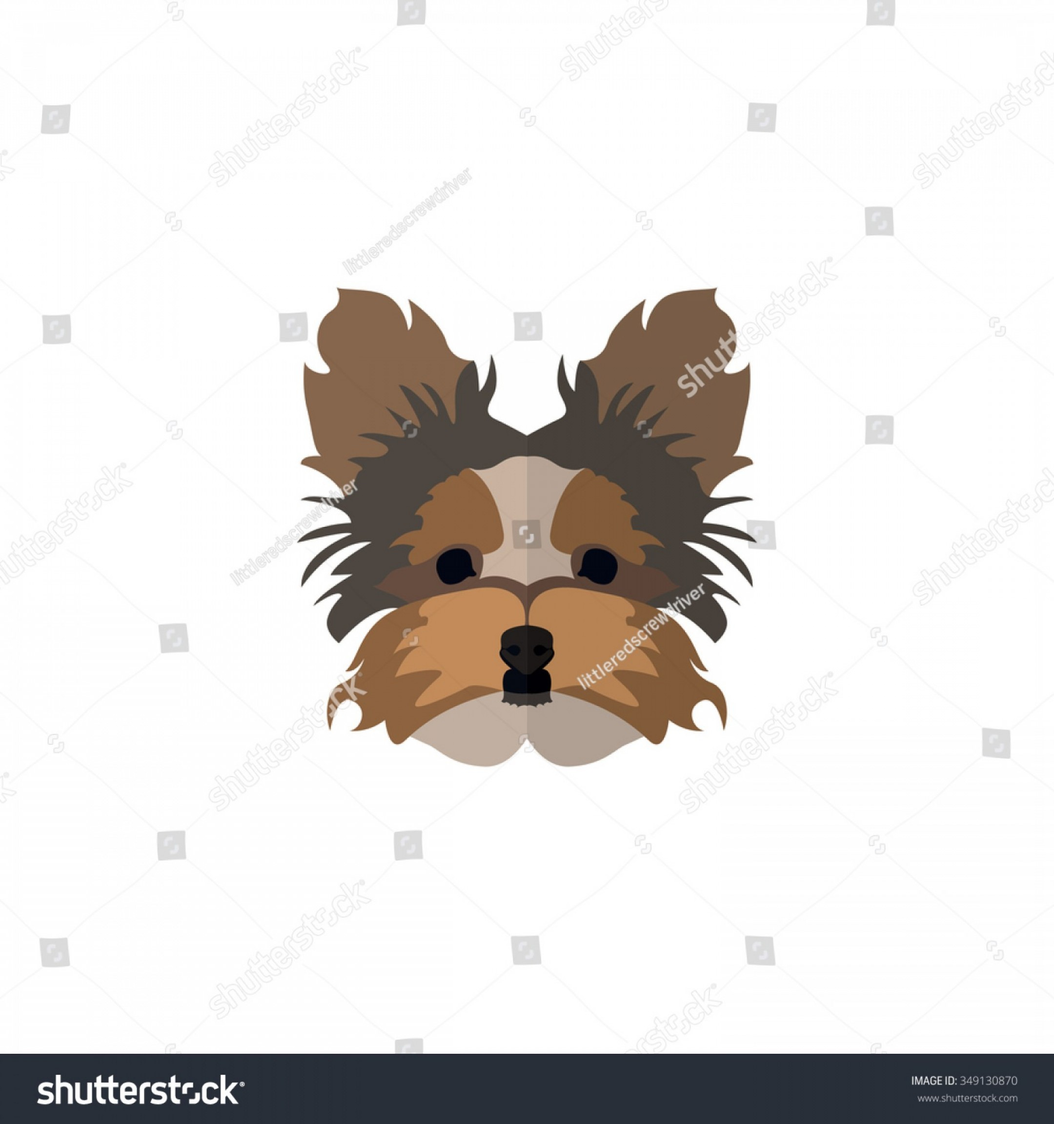 Cute Yorkie Dog Vector: Dog Face Flat Style Yorkshire Terrier