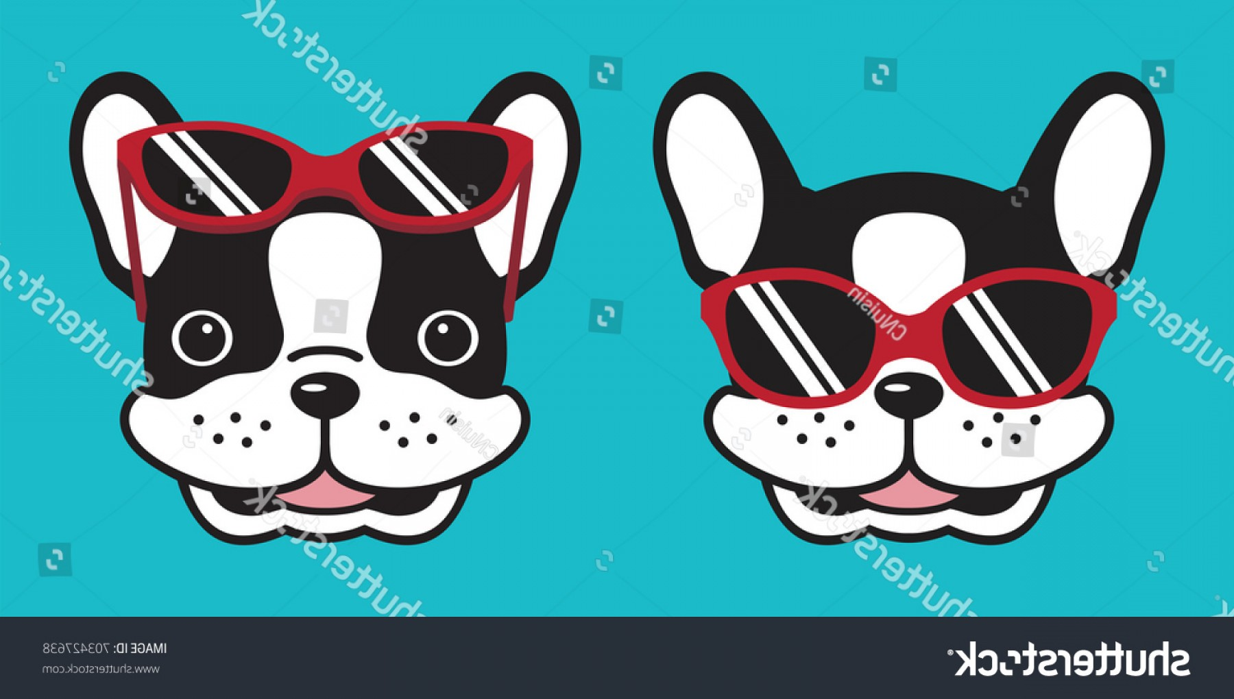 Vector Smiling Bulldog: Dog French Bulldog Smile Sunglasses Illustration