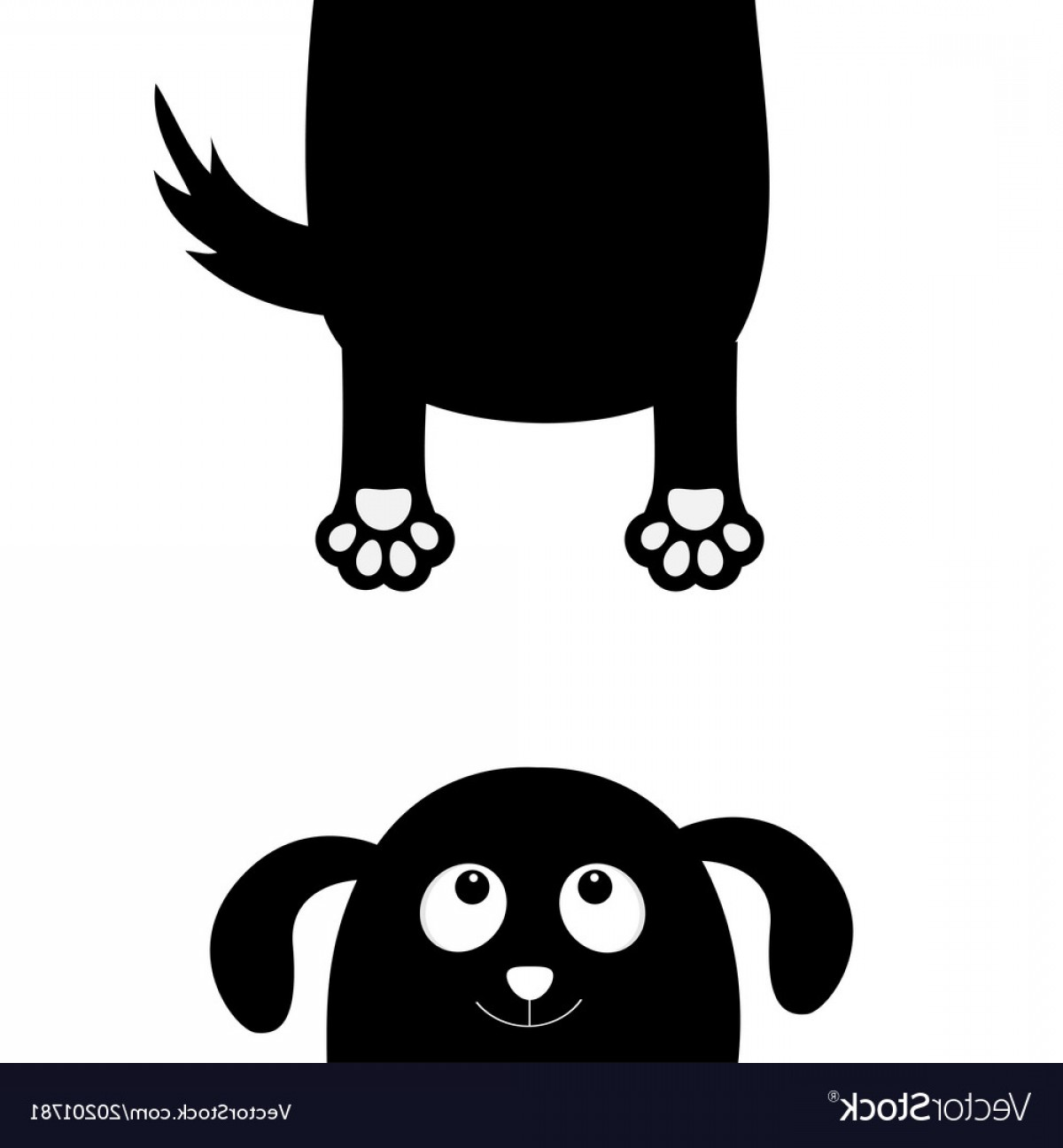 Holding Hands Up Silhouette Vector: Dog Puppy Face Black Silhouette Holding Hands Up Vector