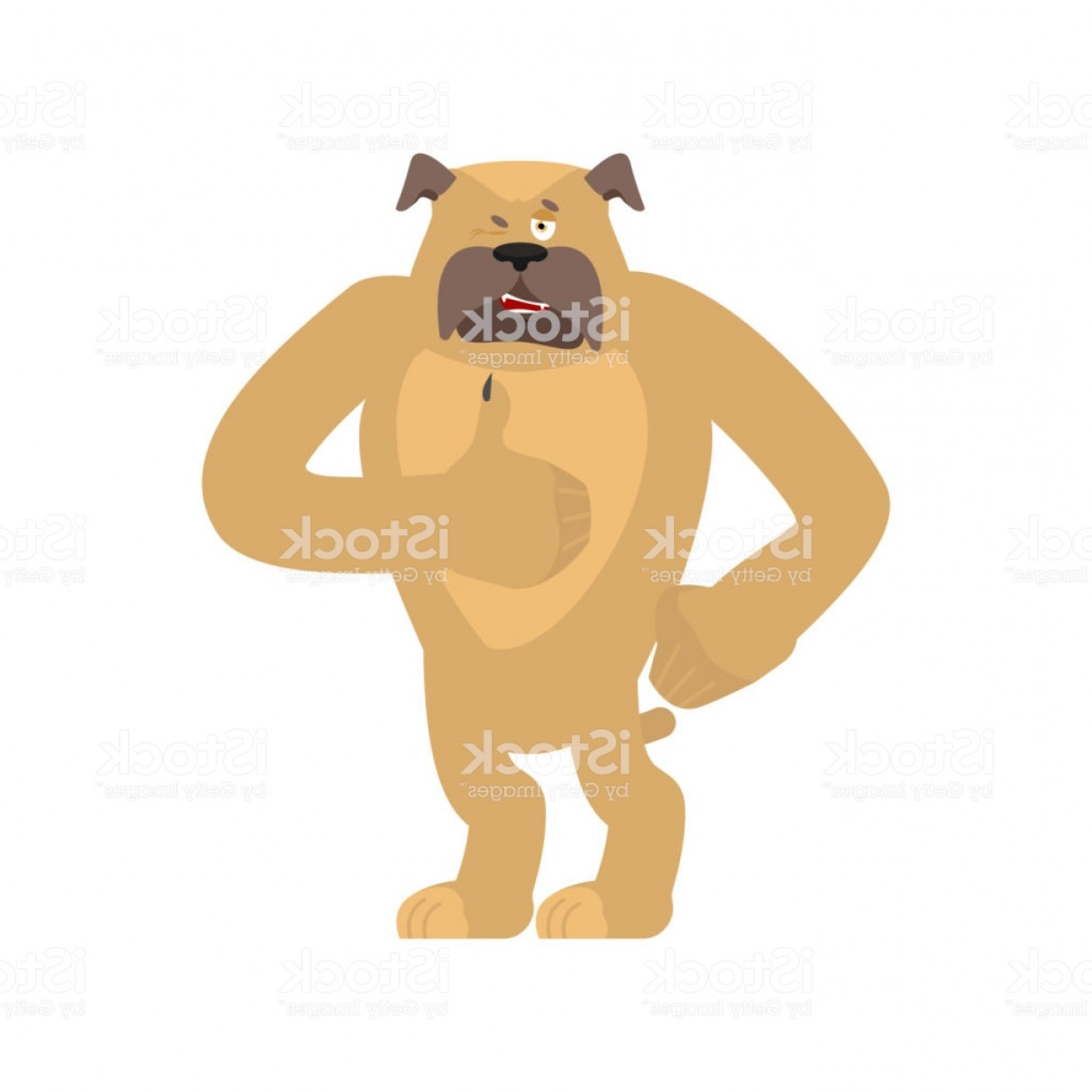 Bpxer Vector Art Happy Dog: Dog Thumbs Up And Winks Pet Happy Emoji Bulldog Vector Illustration Gm