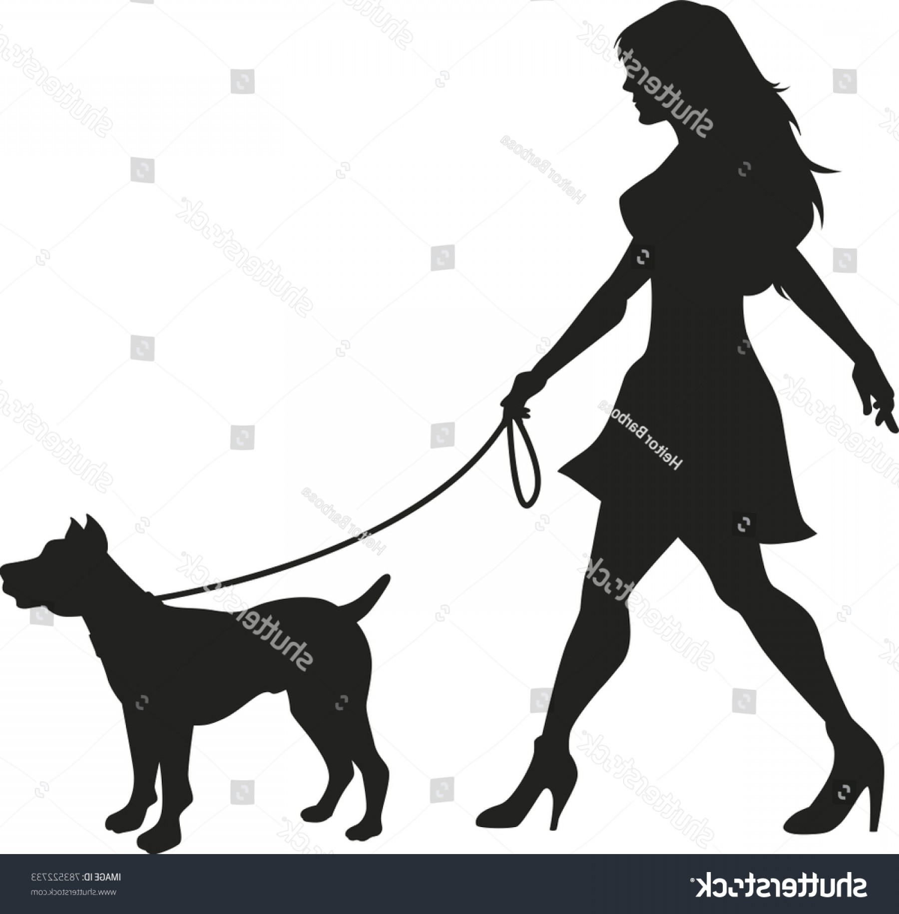 Vector Silhouette Dog Walk: Dog Walking Lady Vector Silhouette