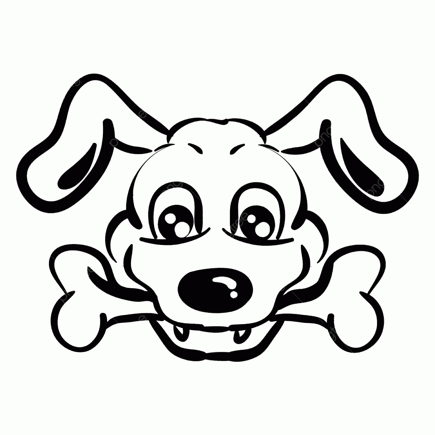Dog Bone Vector Graphics: Dog With Bone Drawing Illustration Vector On White Background