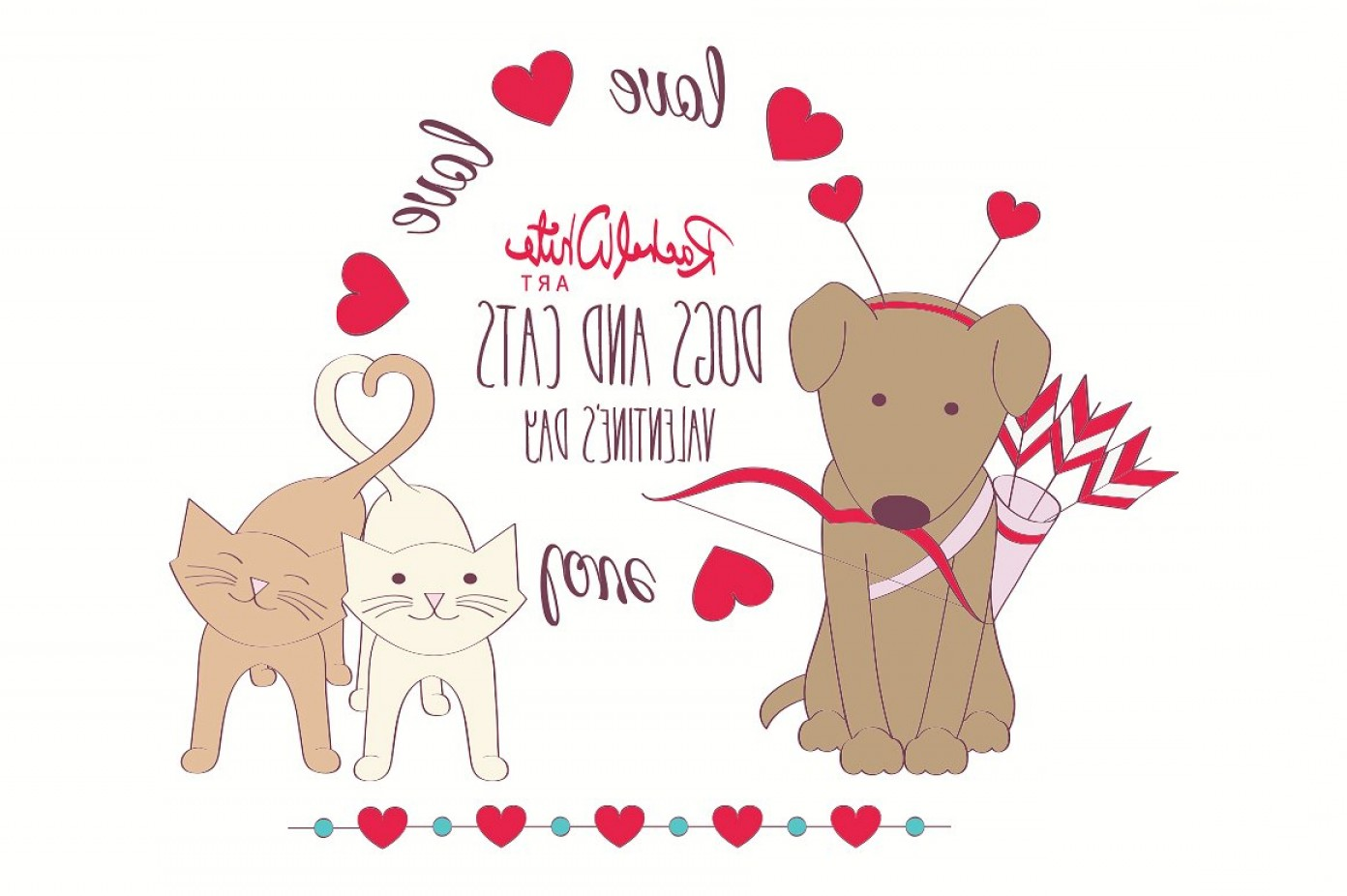 Dog And Cat Vector Illustration: Dogs Cats Valentines Day Vector