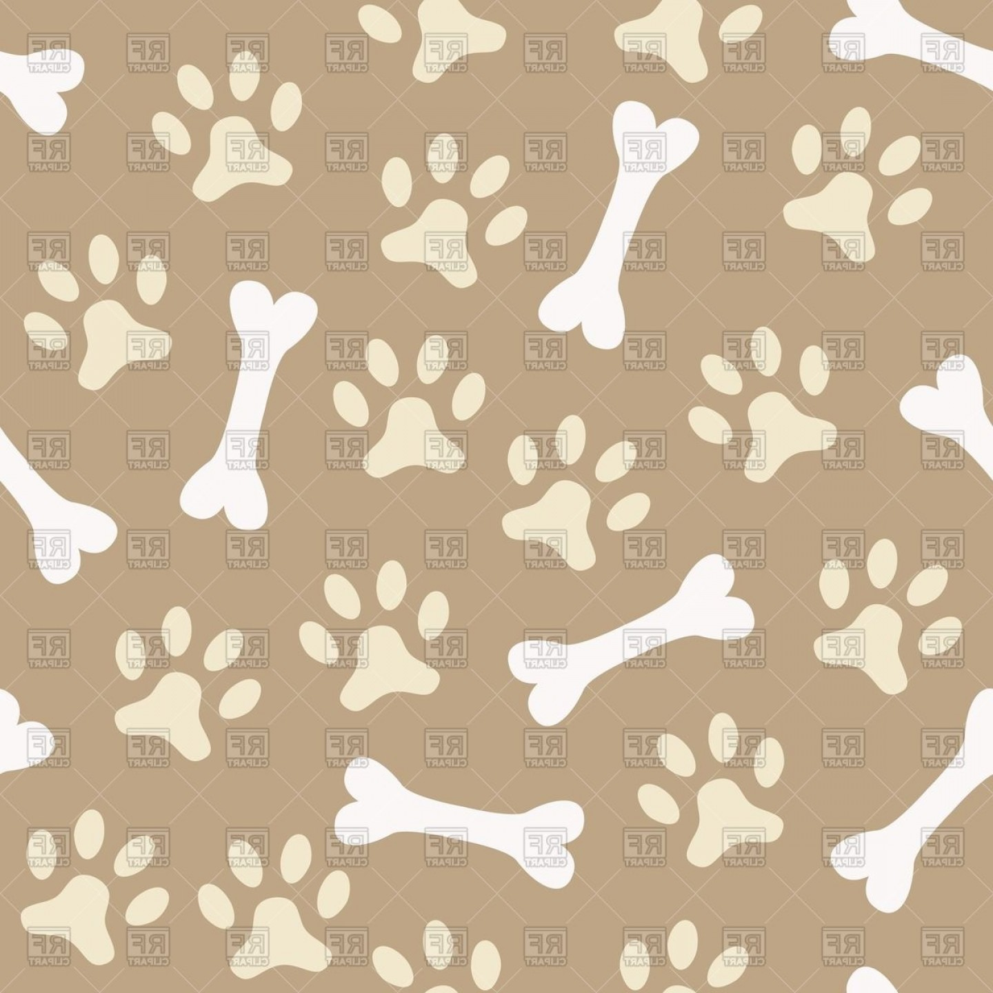 Bone Shaped Dog Tags Vector Art: Dogs Paw Print And Bone Seamless Pattern Vector Clipart