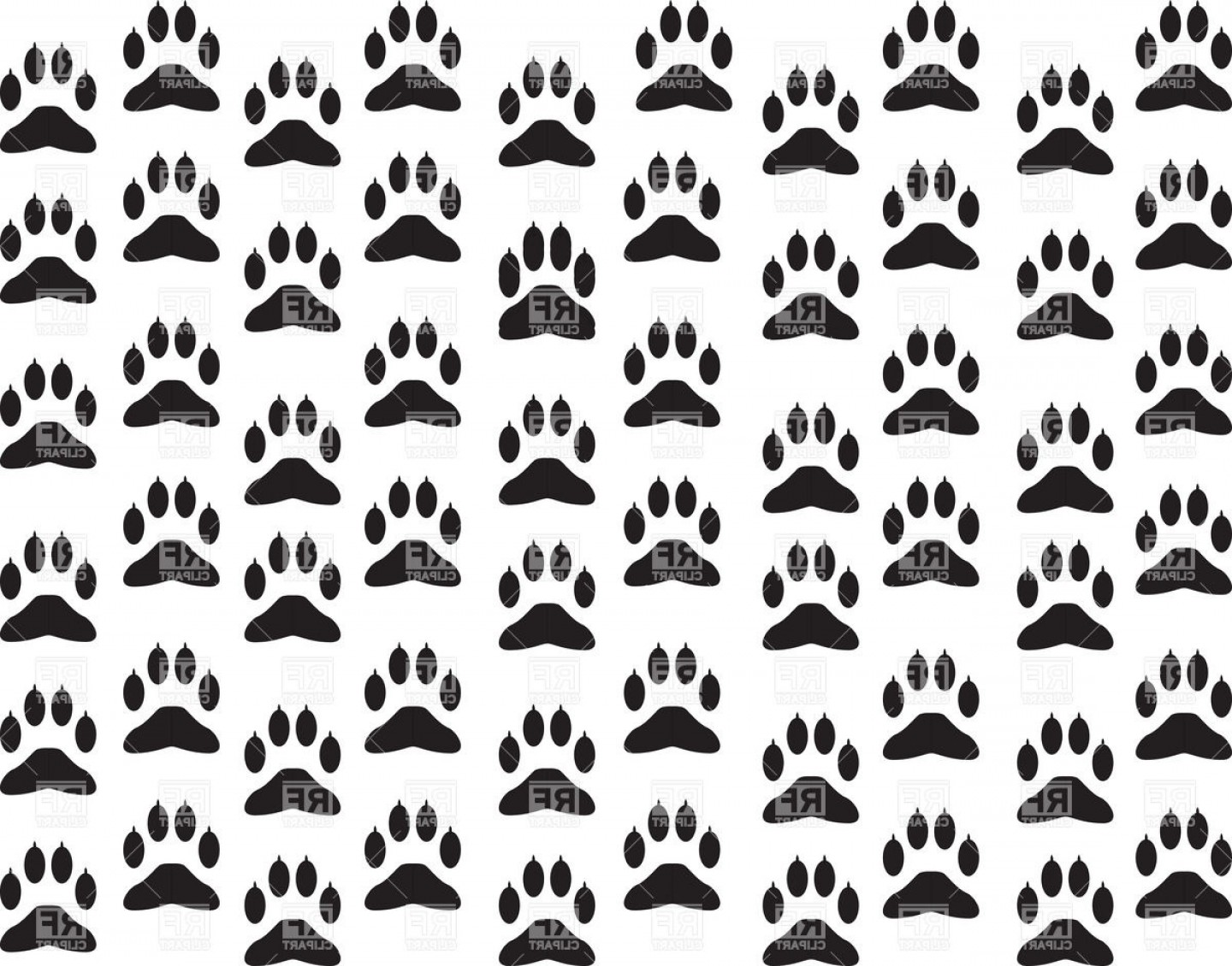 Bone Shaped Dog Tags Vector Art: Dogs Paw Print Background Vector Clipart