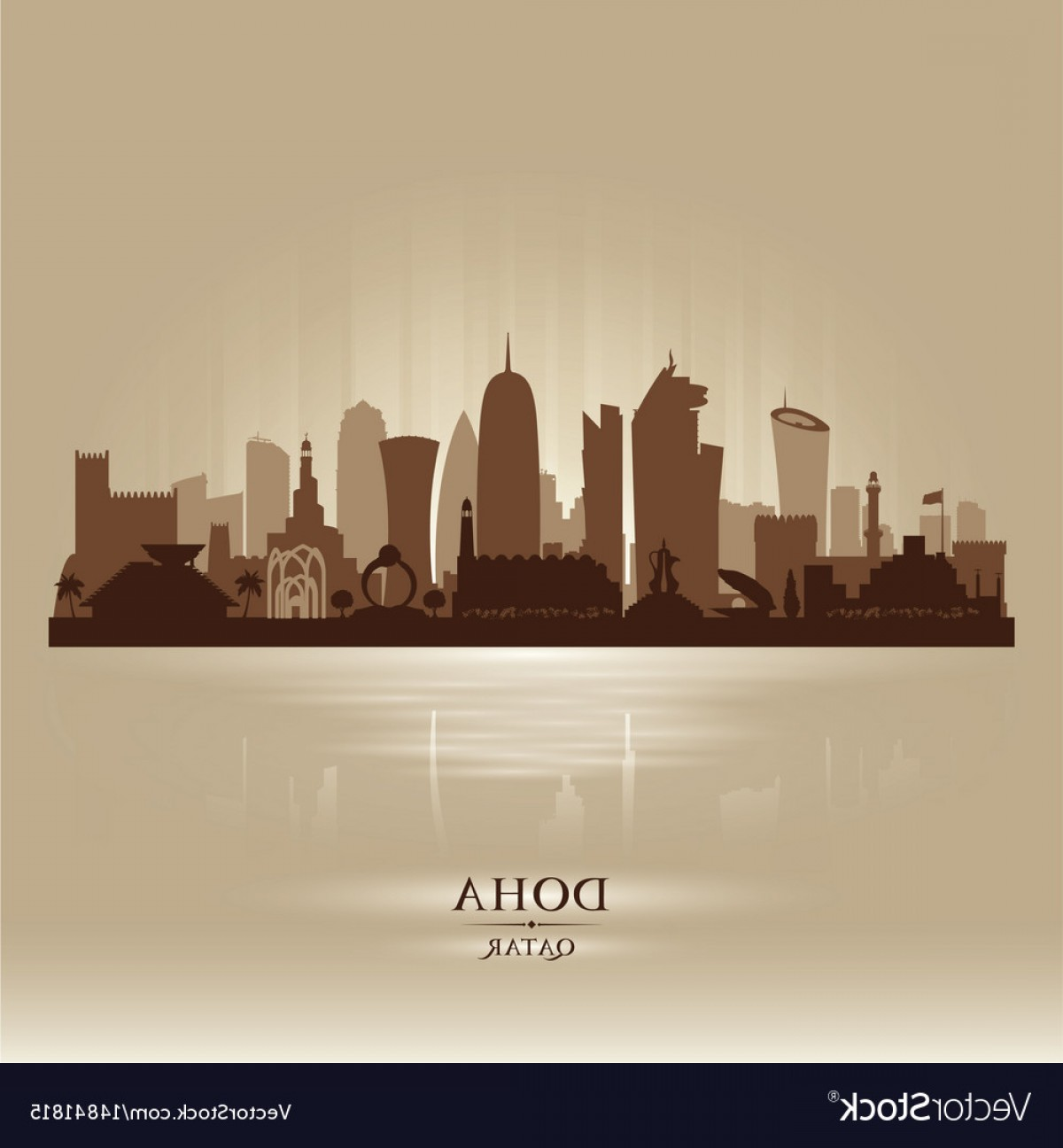 Wicked Boston Skyline Silhouette Vector: Doha Qatar City Skyline Silhouette Vector