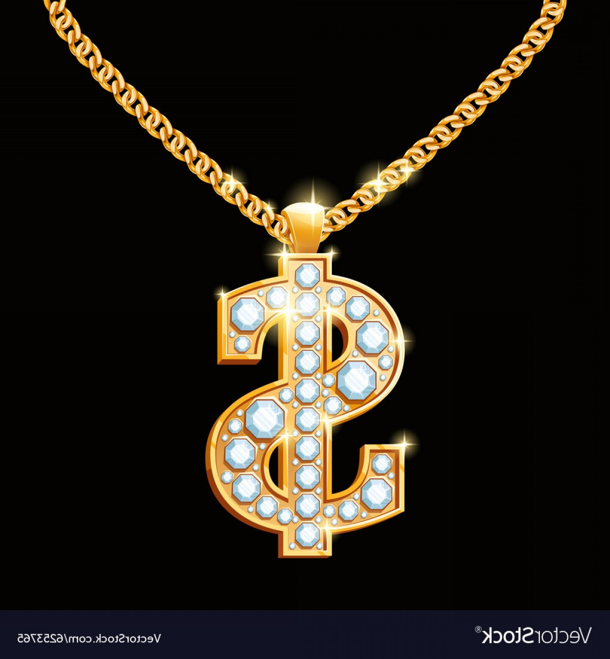 Necklace Vector Chain Grapicts: Dollar Sign With Diamonds On Gold Chain Hip Hop Vector
