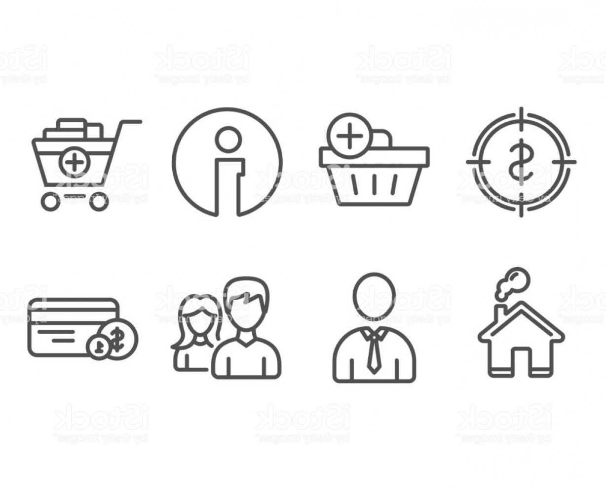 Purchase Vector Art: Dollar Target Add Products And Human Icons Add Purchase Couple And Payment Method Gm