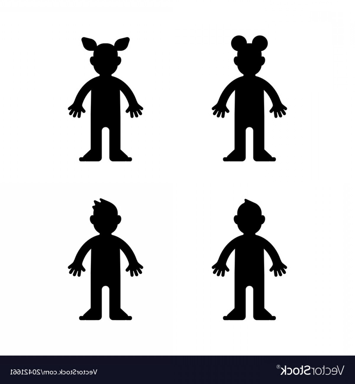 Little Boy Silhouette Vector: Dolls Little Boy And Girl Black Silhouette Vector