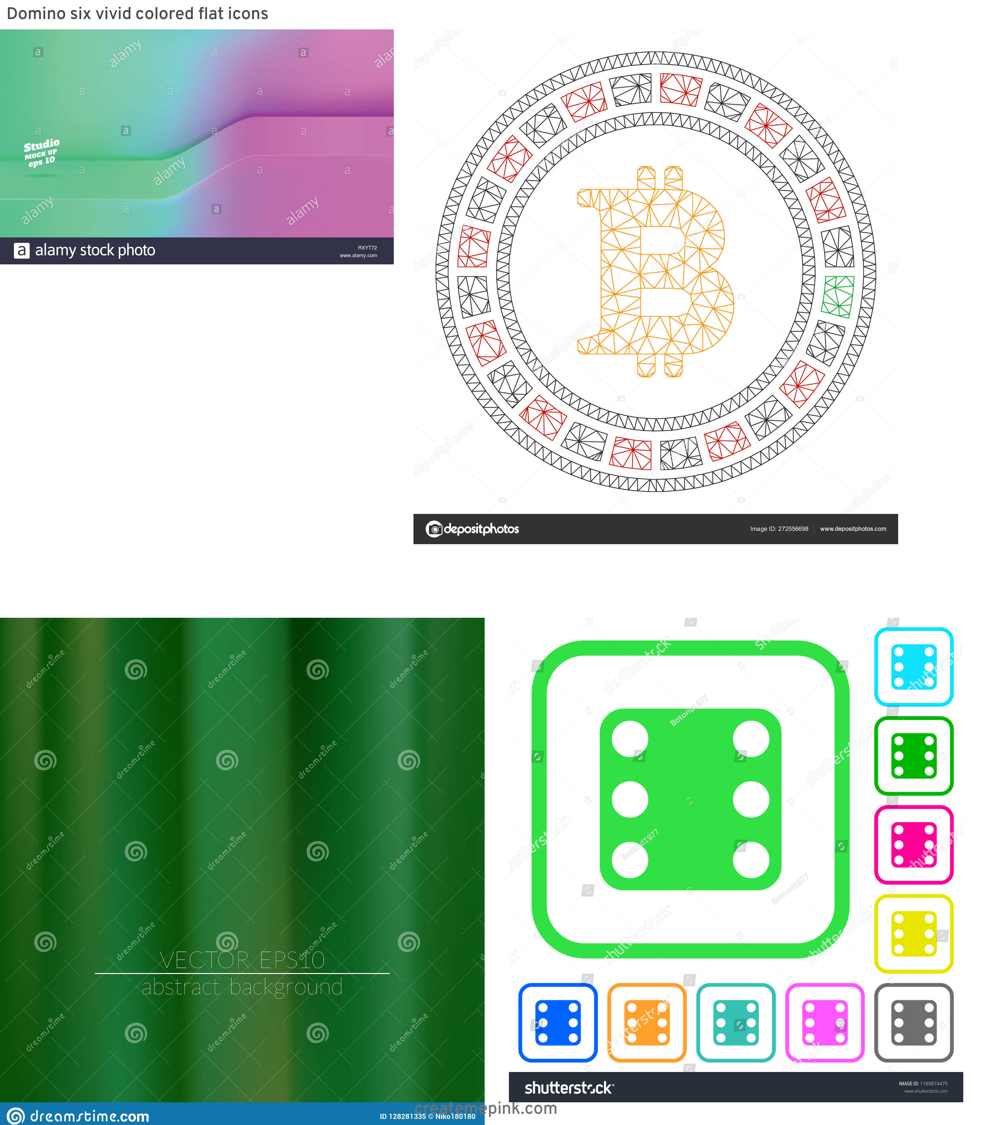 Casino Backgrounds Stock Vector Vivid: Domino Six Vivid Colored Flat Icons