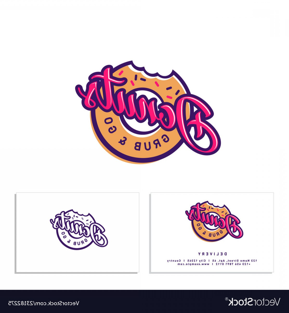 Gru Vector Logos: Donuts Shop Logo Bitten Identity Business Card Vector
