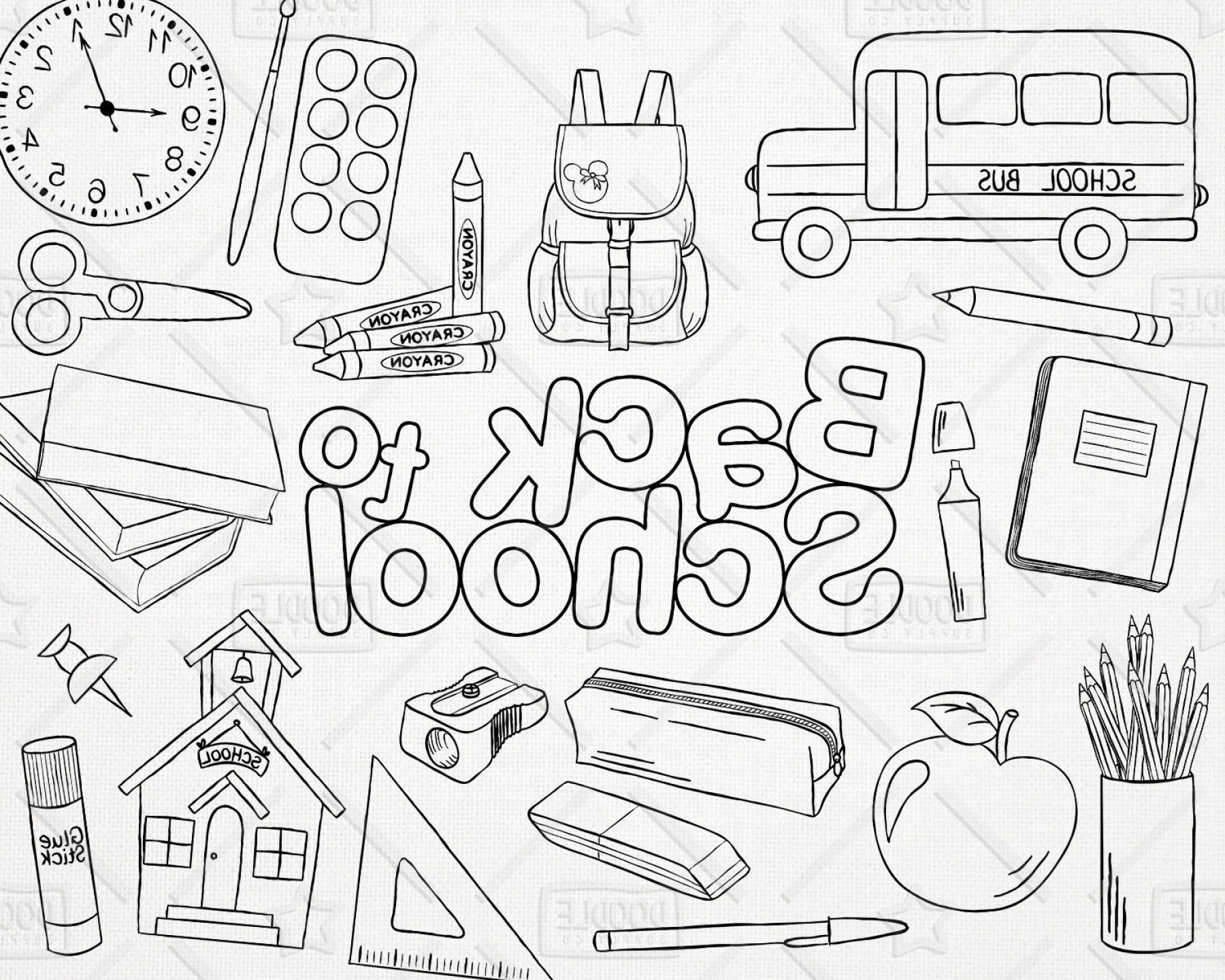 Individual School Supplies Vector: Doodle Back To School Vector Pack Hand