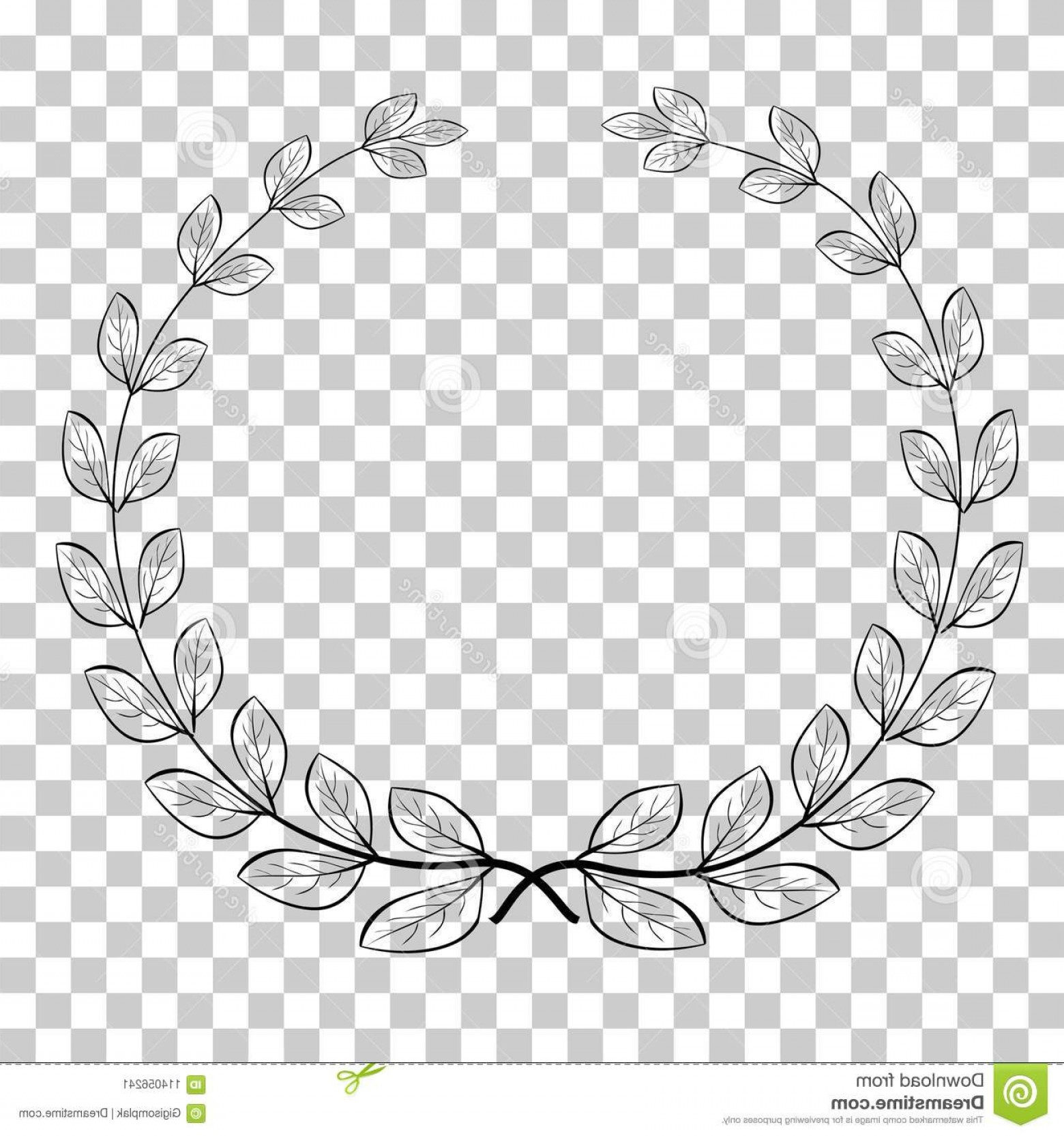 Floral Laurel Wreath Vector: Doodle Circle Laurel Wreath Vector Icon Your Title Border Transparent Effect Background Image