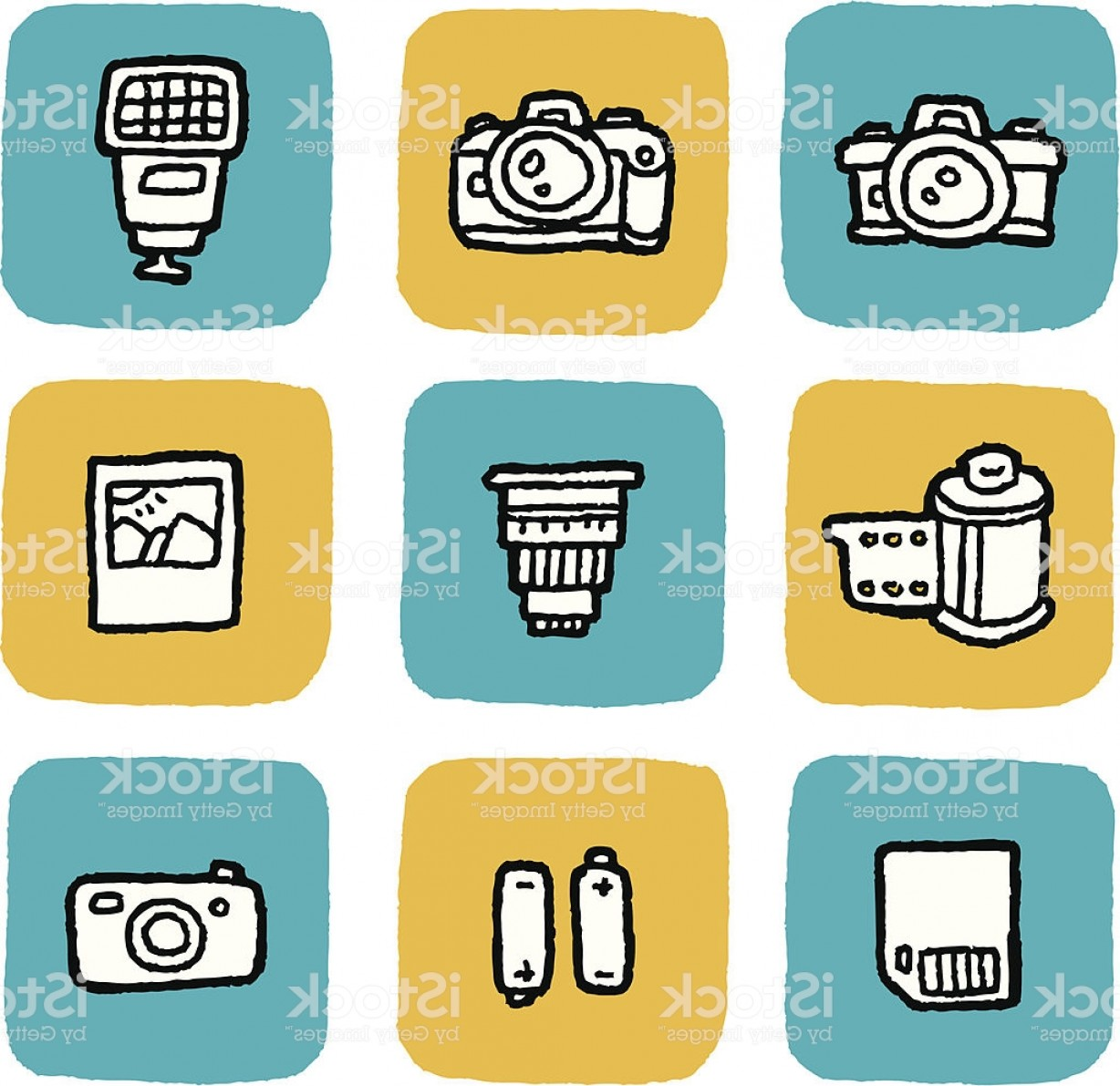 Hires Camera Lens Vector: Doodle Icon Set Cameras Gm