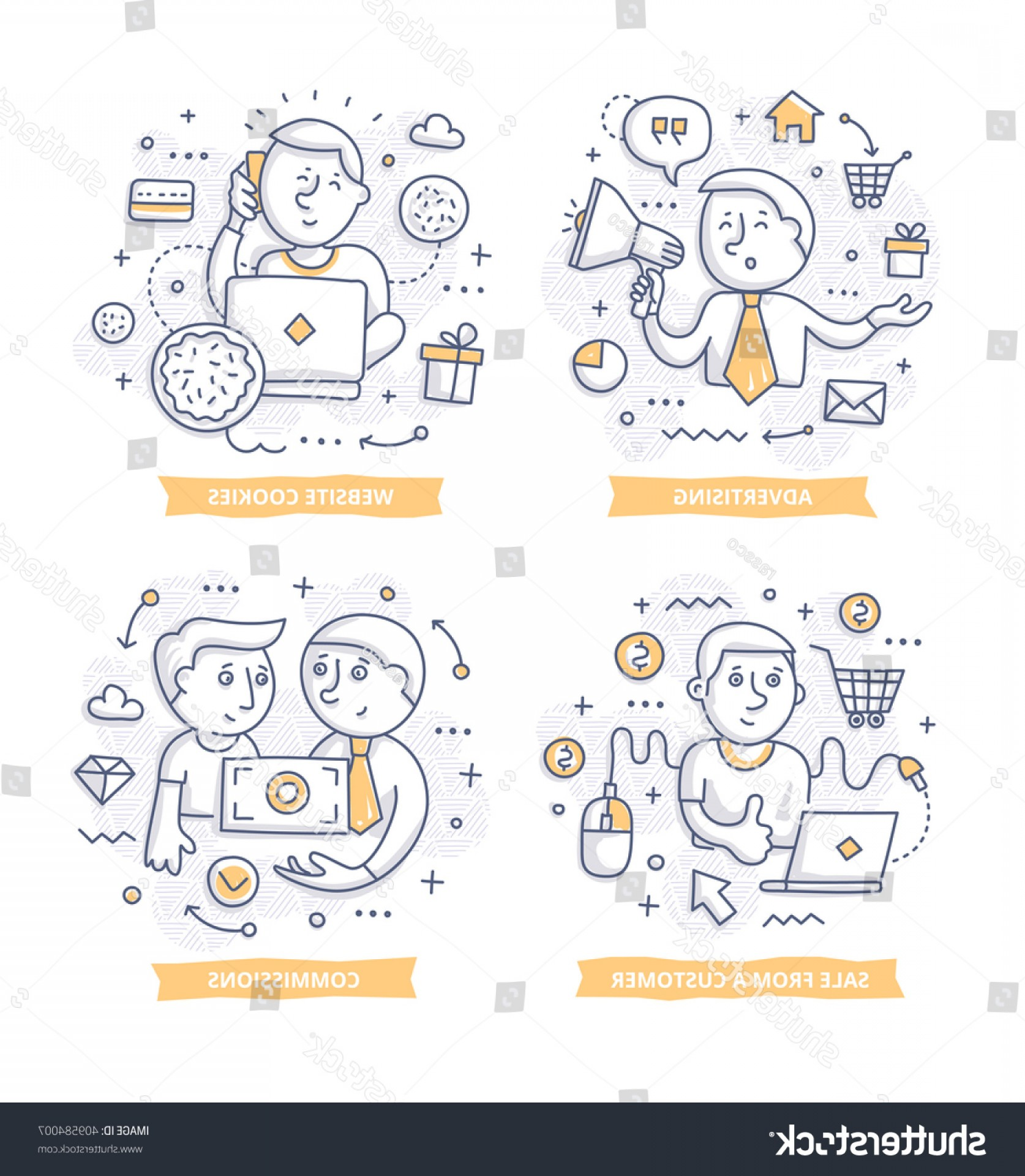 Vector Marketing Commission: Doodle Illustrations Promoting Companies Products Commission