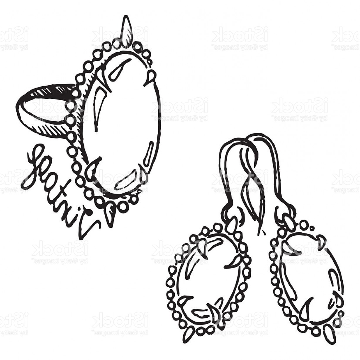 Jewelry Vector Line Art: Doodle Ring Earrings Jewelry Set Sketch Vintage Isolated Vector Gm