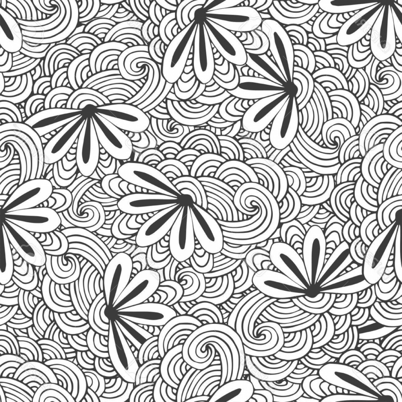 Zentangle Vector: Doodle Seamless Waves Pattern With Flowers In Vector Zentangle Intended For Zentangle Patterns Coloring Pages