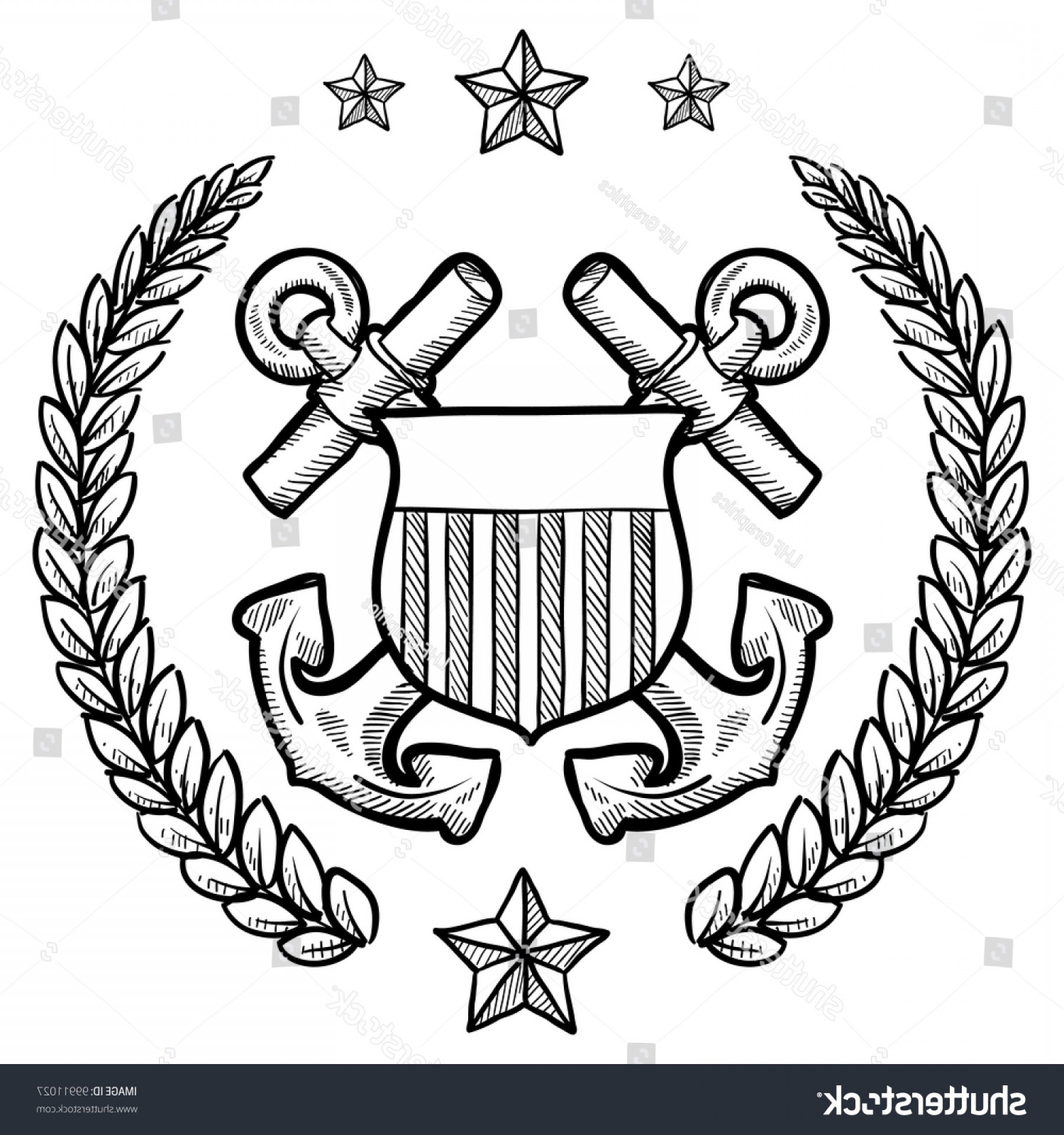 U S. Navy Logo Vector: Doodle Style Military Rank Insignia Us