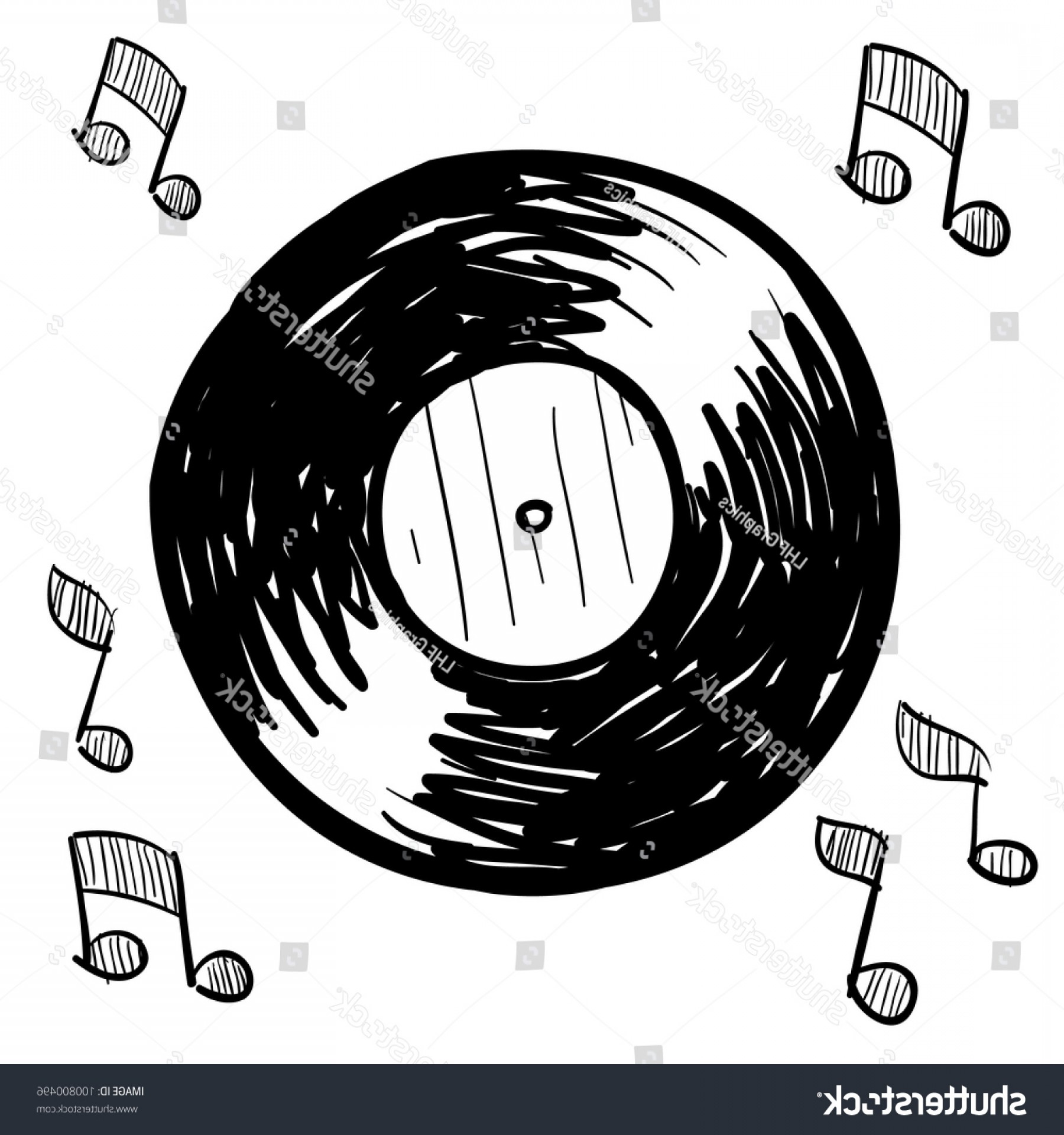 Vinyl Vector Tools: Doodle Style Vinyl Record Illustration Vector