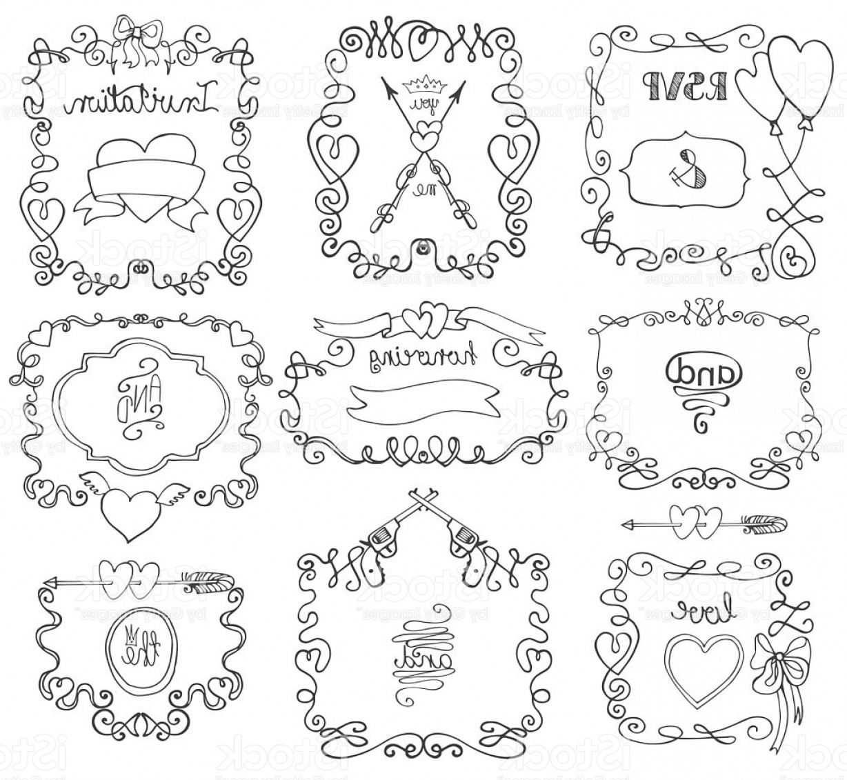 Arrow Border Frame Vector: Doodle Swirls Frame Arrows Borders Decor Element Love Set Gm