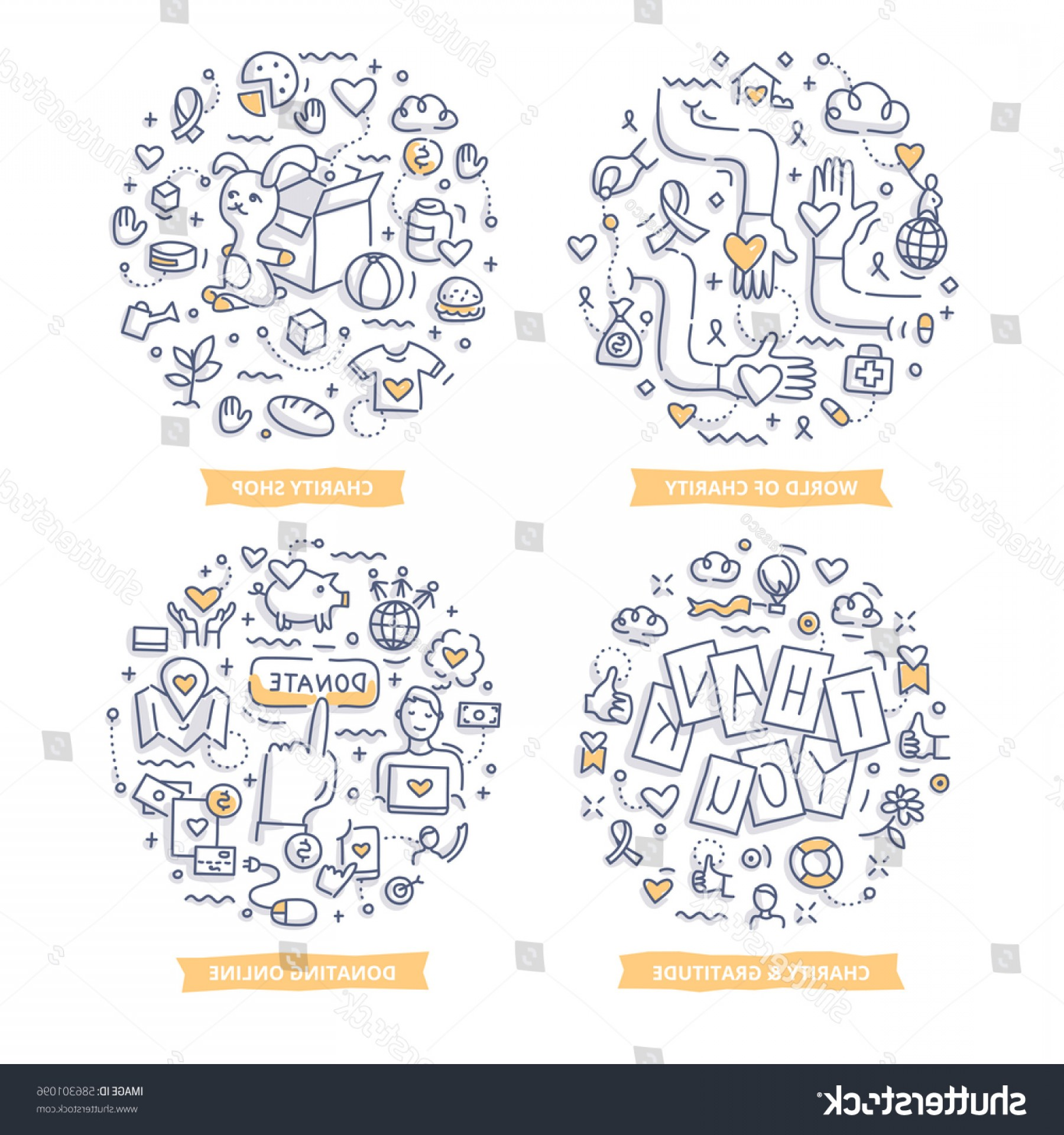 Charity Meter Vector: Doodle Vector Concepts Charity Gratitude Giving