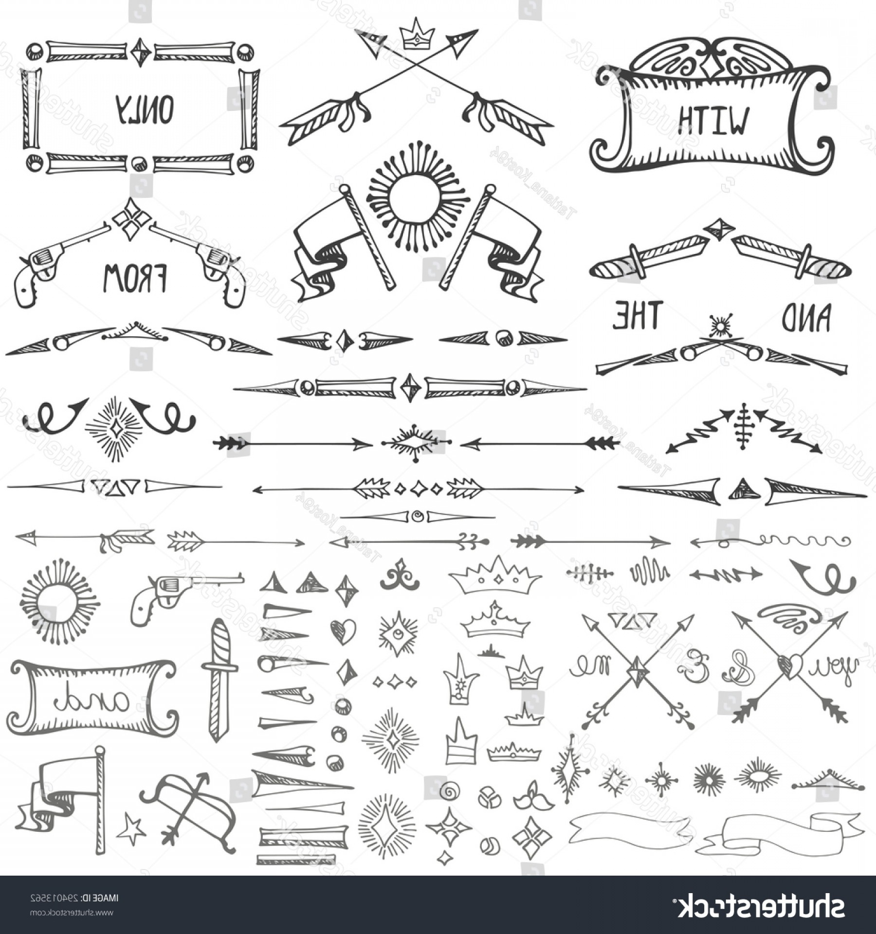 Arrow Border Frame Vector: Doodles Borderswirling Dividersarrowweaponscrownframedecor Elements Setmale Strong