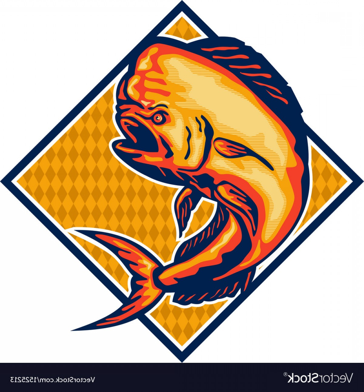 Mahi Mahi Outline Vector Images: Dorado Dolphin Fish Mahi Mahi Retro Vector