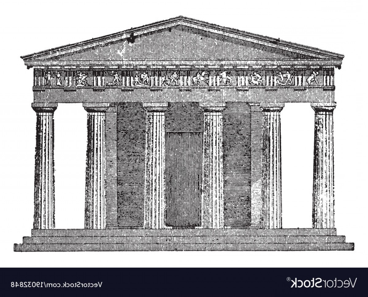 Car Vector Front Elevation: Doric Temple The Front Elevation Vintage Engraving Vector