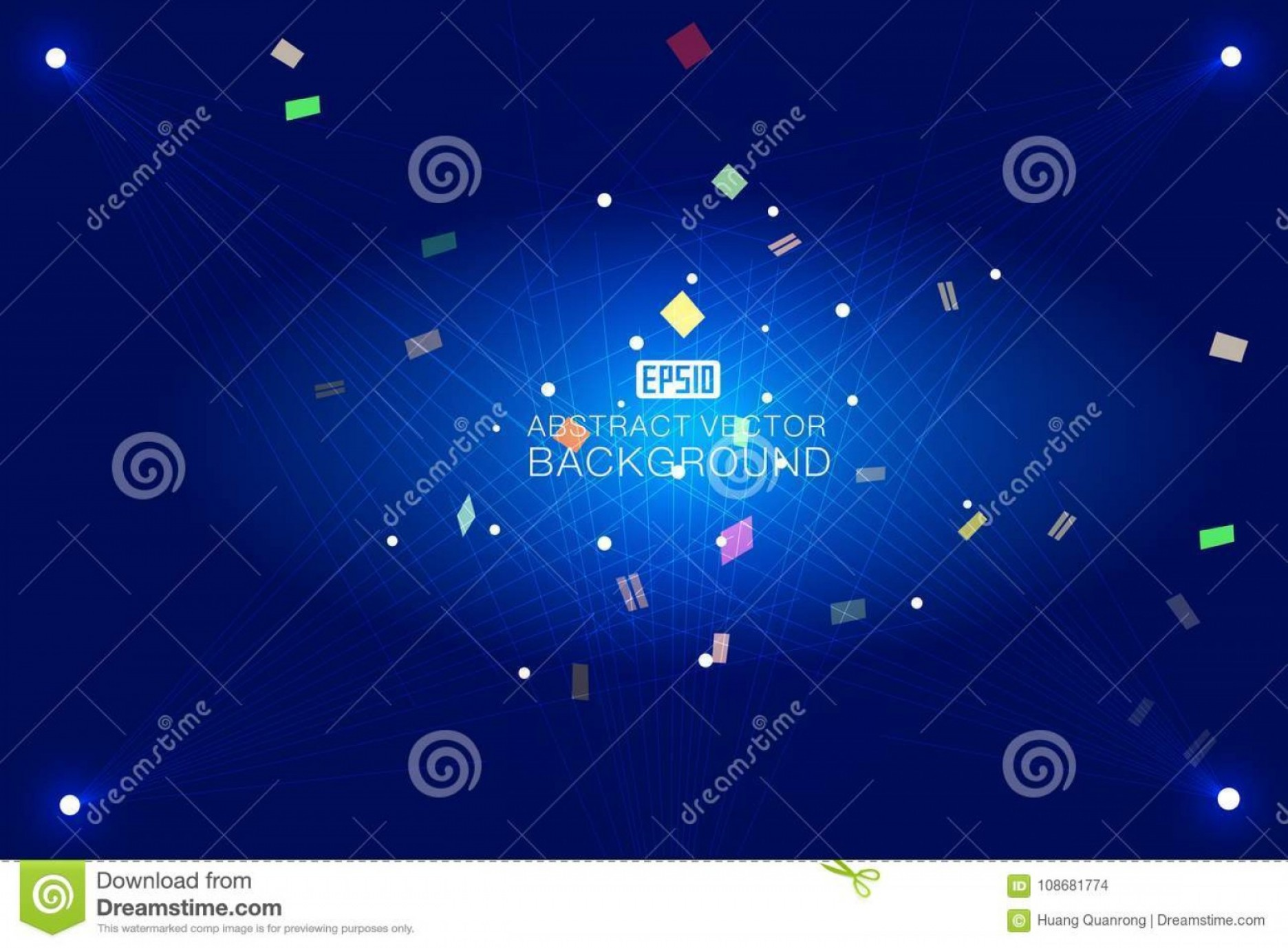 Blue Technology Vector Illustration: Dots Line Abstract Dark Blue Tech Vector Background Image