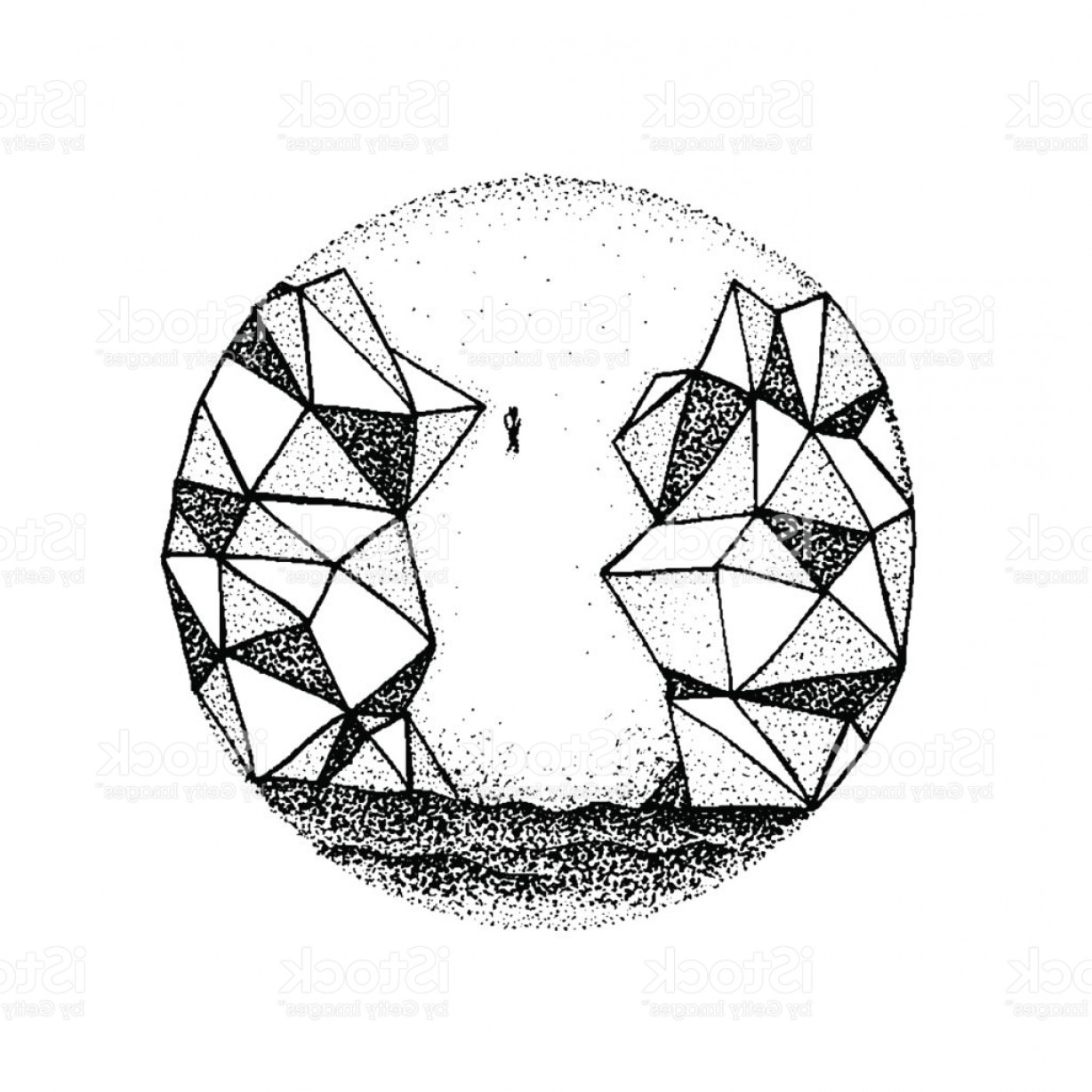 Rocky Mountain Line Art Vector: Dotwork Polygonal Rock Mountain Gm
