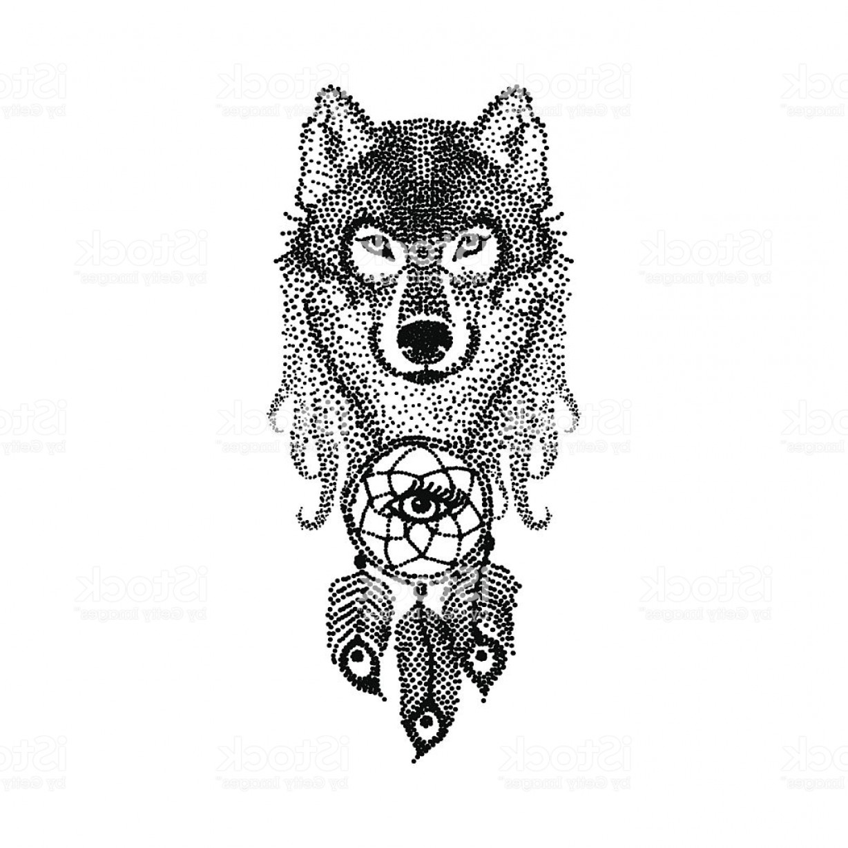 Dreamcatcher Tattoo Vector: Dotwork Tattoo Design Stylized Wolf Face With Dream Catcher Han Gm