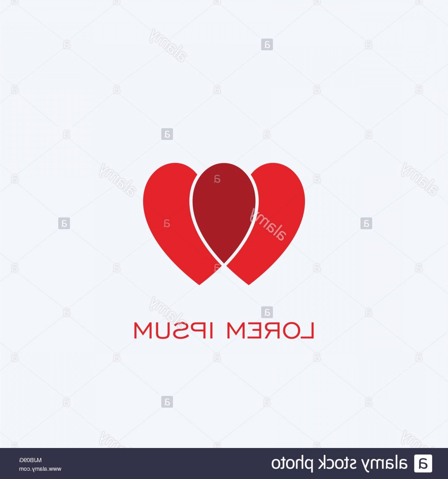 Love M J Vector: Double Heart Icon Love Logo Design Vector Icons With Red Color Image