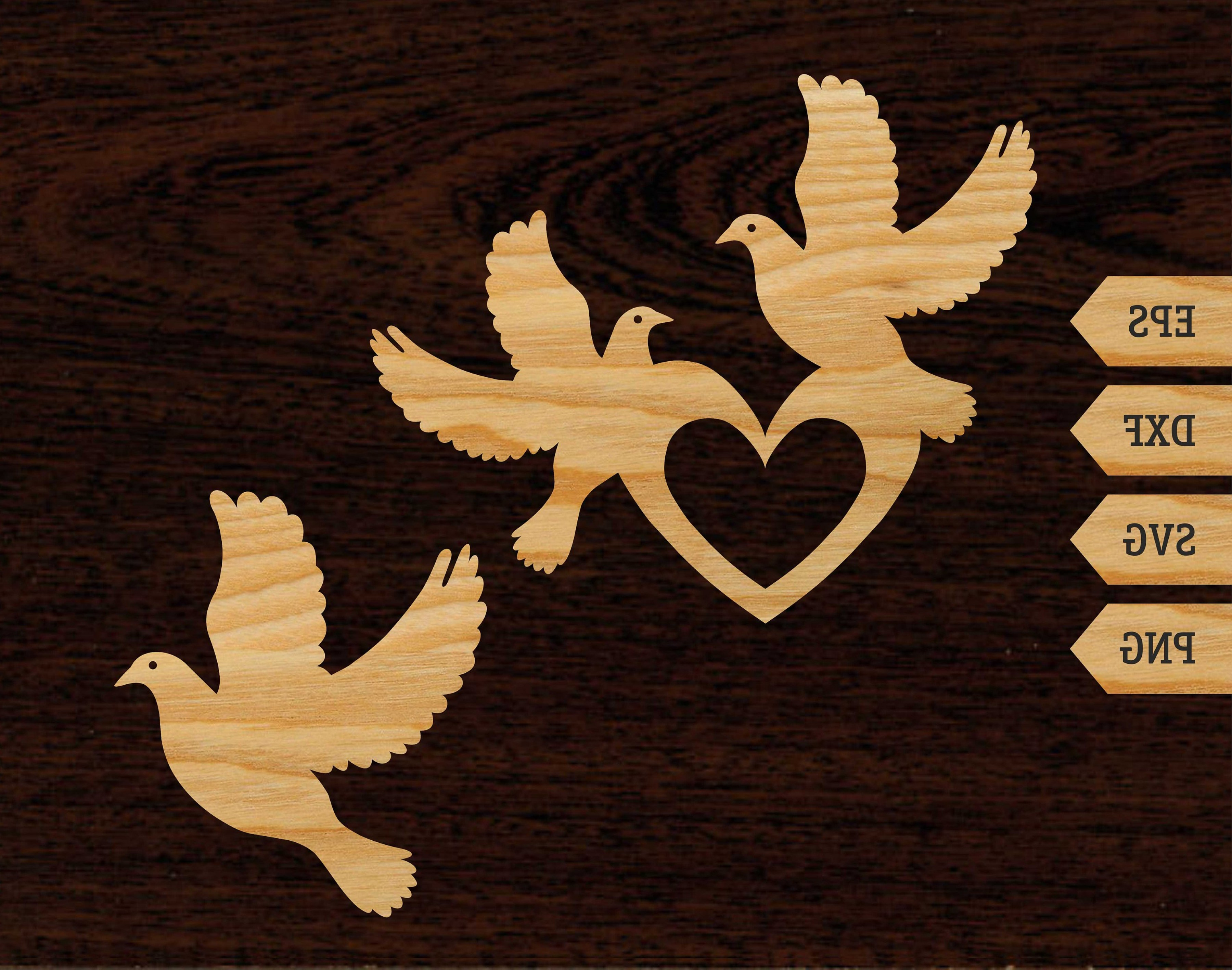 Vector Wedding Doves 2: Dove Template Cnc Cutting File Laser