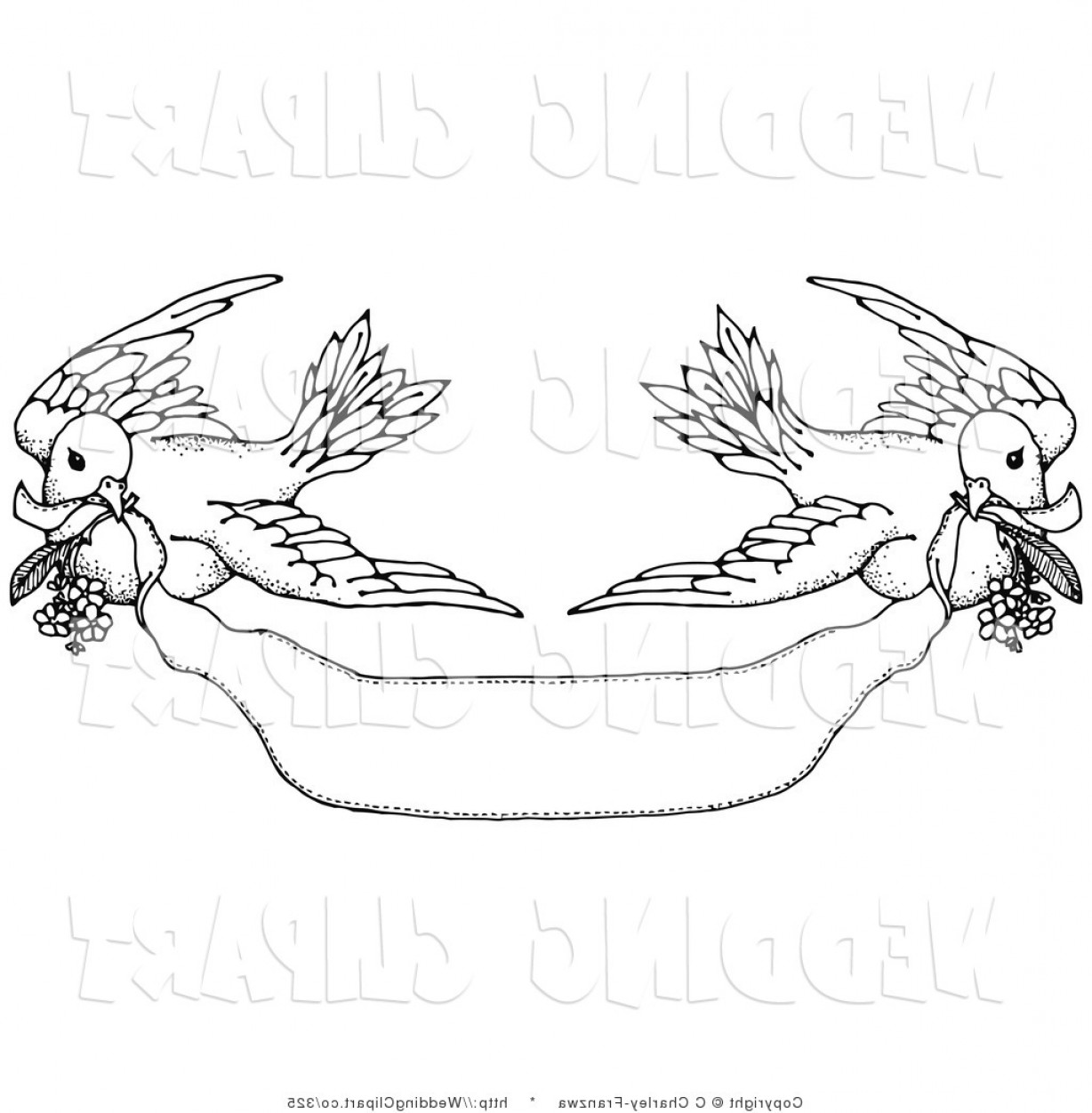 Vector Wedding Doves 2: Dove Wedding Clipart Black And White