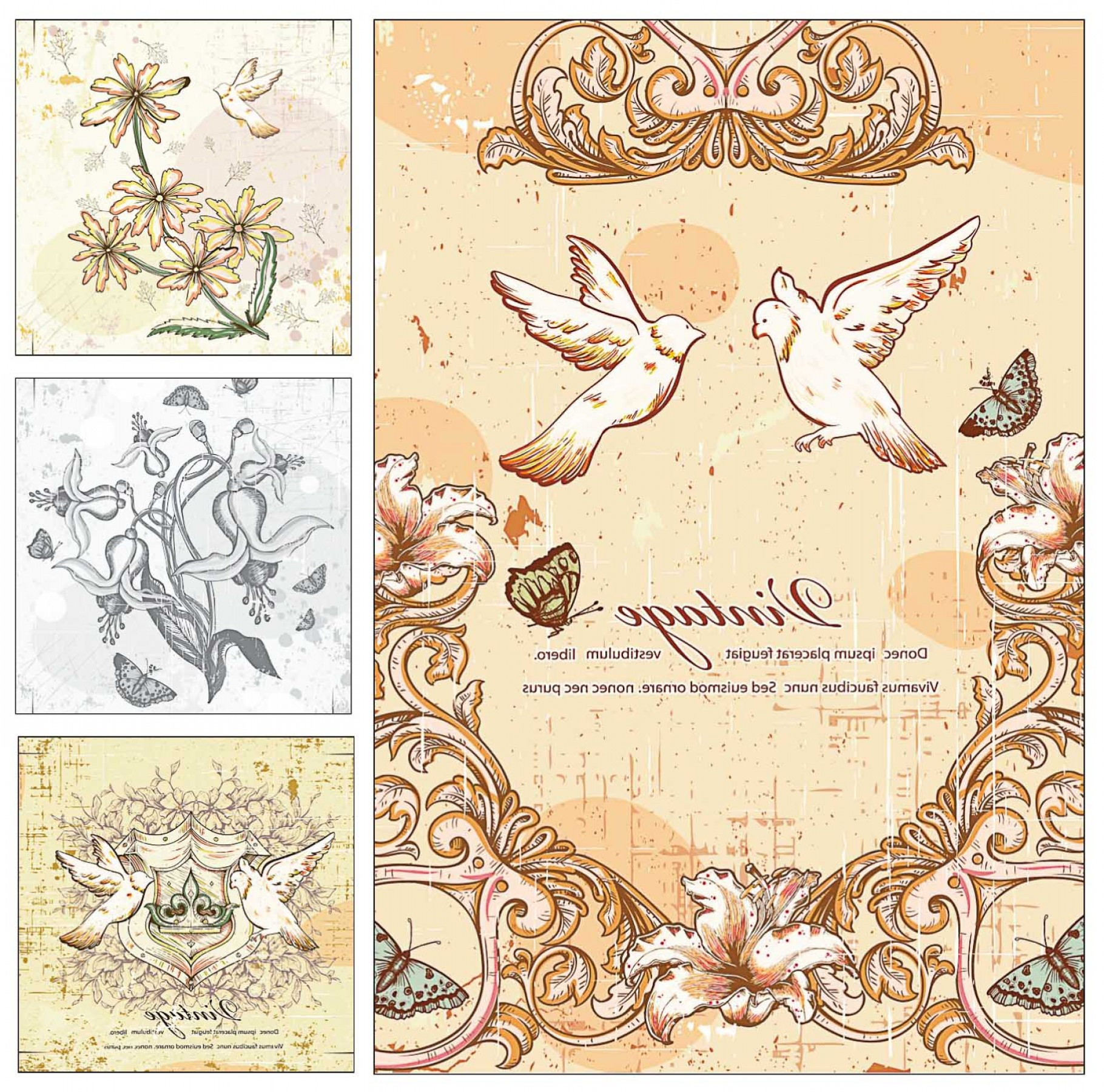 Rustic Wedding Invitation Vector: Doves And Flowers Wedding Invitation Card Vector