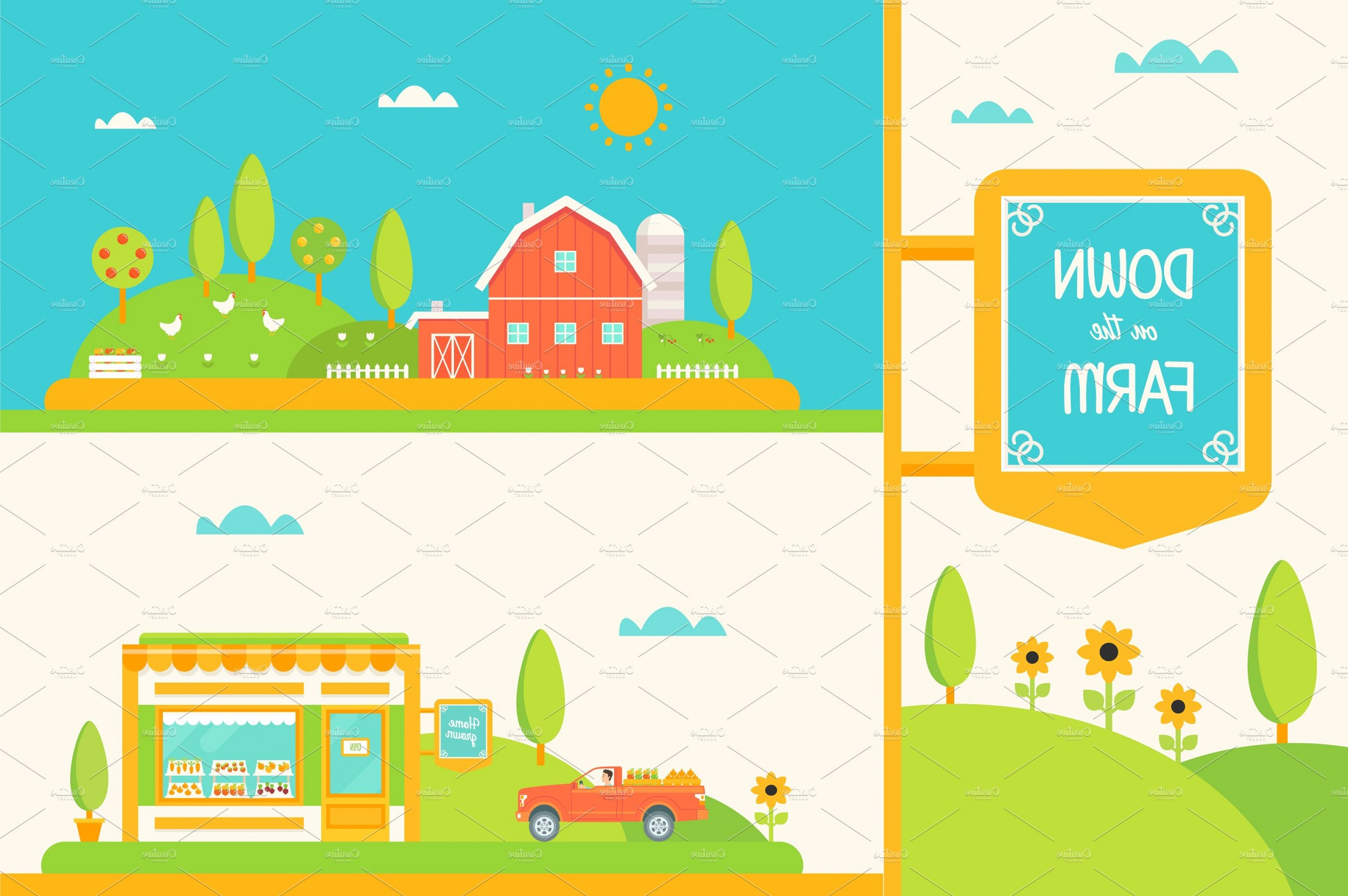 Farm Vector Illustration: Down On The Farm Vector Set