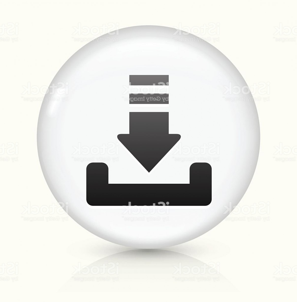 Downloadable Vector Art: Download Icon On White Round Vector Button Gm