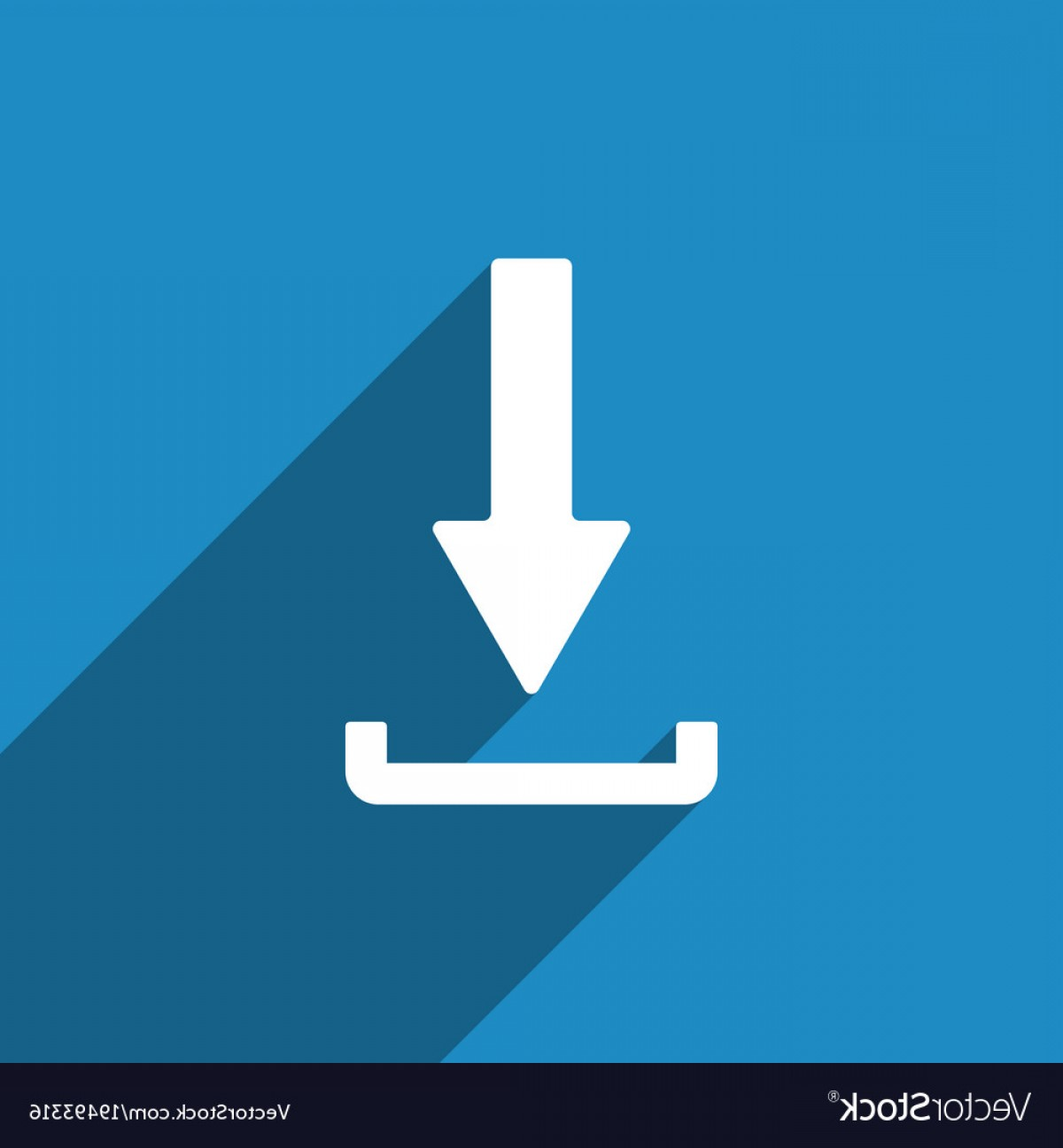 Downloadable Vector Cross: Download Icon With Long Shadow Upload Button Vector