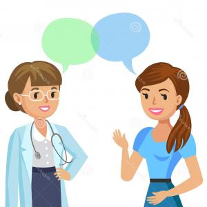 Physician Vector: Doctor Patient Woman Talking To Physician Vector