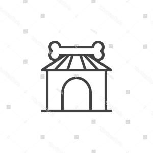 Bone Vector Graphics: Dog House Bone Outline Icon Linear