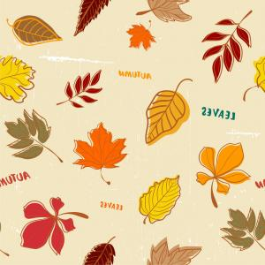 Autumn Seamless Vector: Doodle Autumn Leaves Pattern Seamless Vector