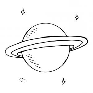 Hand Drawn Vector: Doodle Planet Saturn With Stars Hand Drawn Vector
