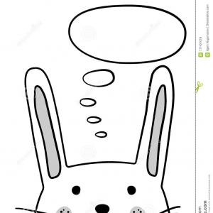 Thought Bubble Vector Sketch: Doodle Sketch Rabbit Thought Cloud Vector Illustration Cartoon Bunny Thinking Bubble Hare Domestic Animal Postcard Doodle Image
