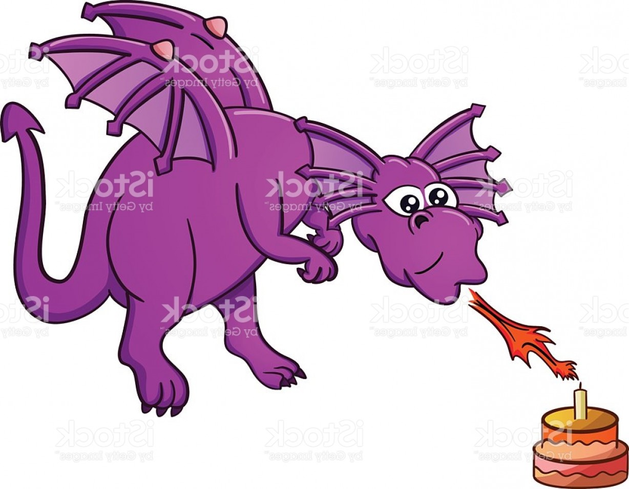 Dragon Fire Vector: Dragon Blowing Birthday Cake With Fire Gm