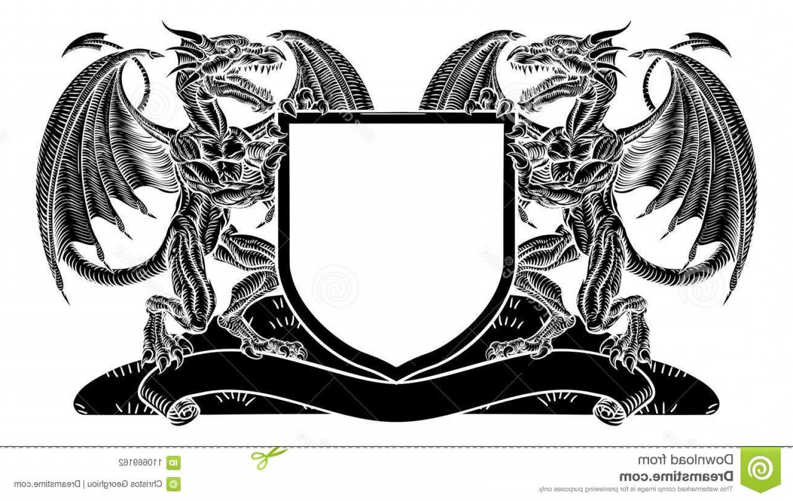 Crest And Coat Of Arms Vector Silhouette: Dragon Heraldry Crest Coat Arms Shield Emblem Medieval Heraldic Featuring Rampant Animal Supporters Flanking Charge Image