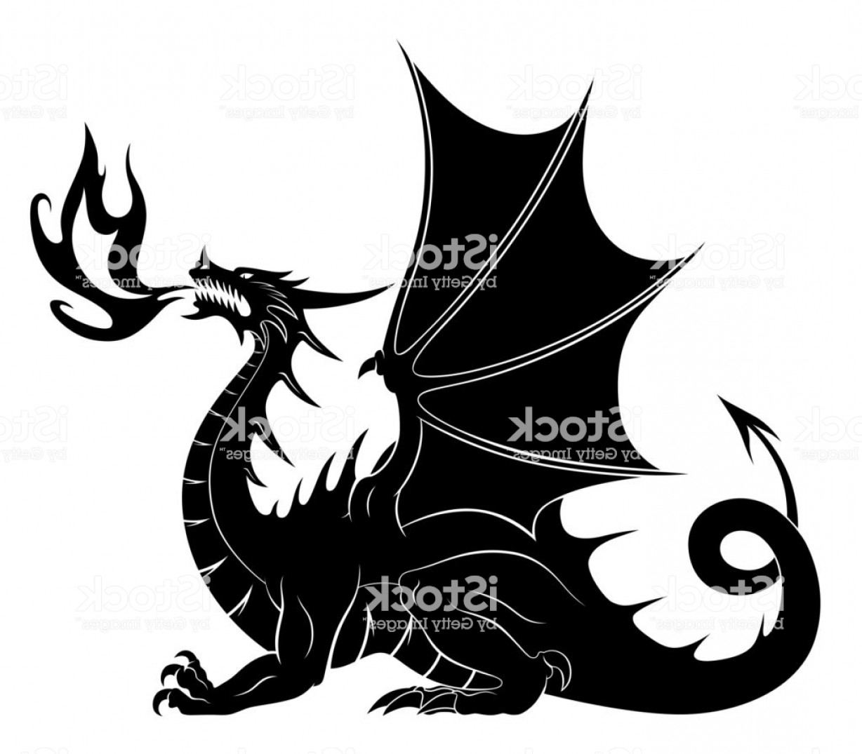 Baby Dragon Silhouette Vector: Dragon Silhouette With Fire Gm