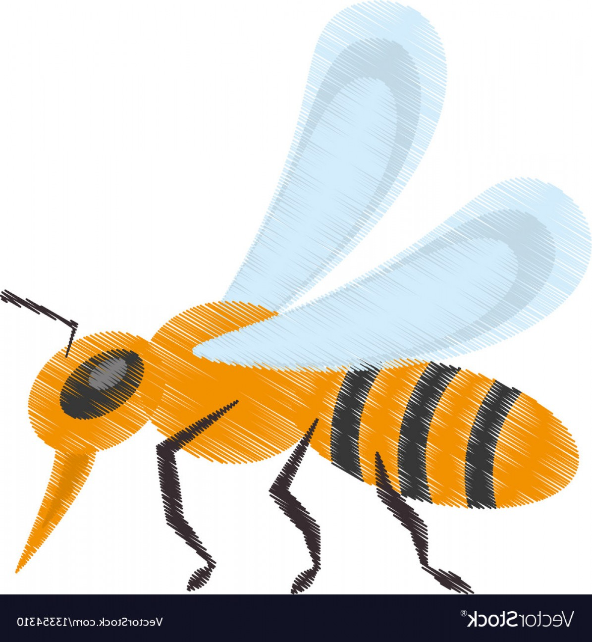Bee Drawing Vector: Drawing Bee Insect Flower Pollen Vector