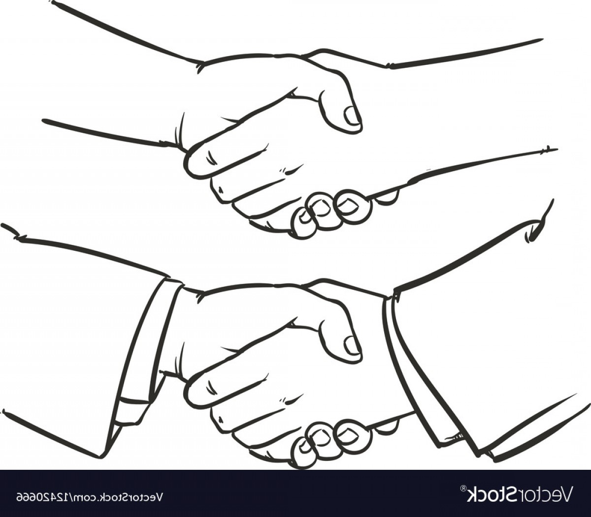 Handshake Clip Art Vector: Drawing Handshake Outline Hand Clip Art Vector
