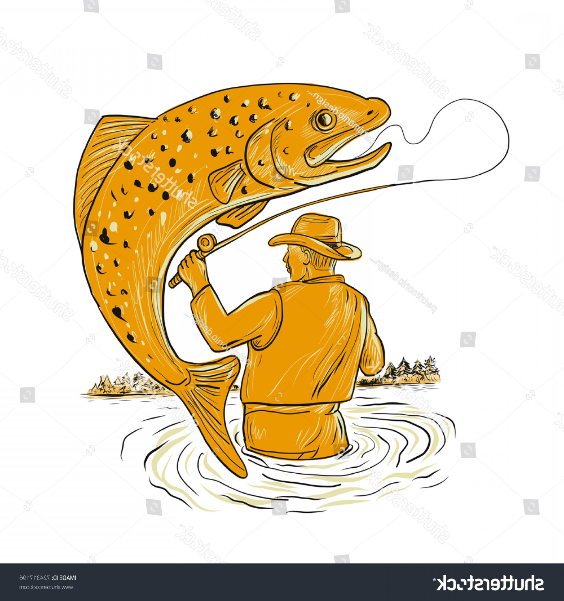 Detailed Vector Art Fly Fisherman: Drawing Sketch Style Illustration Fly Fisherman