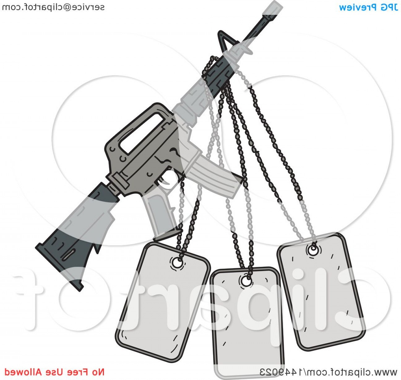 M4 Gun Vector: Drawing Sketch Styled M Rifle And Dog Tags